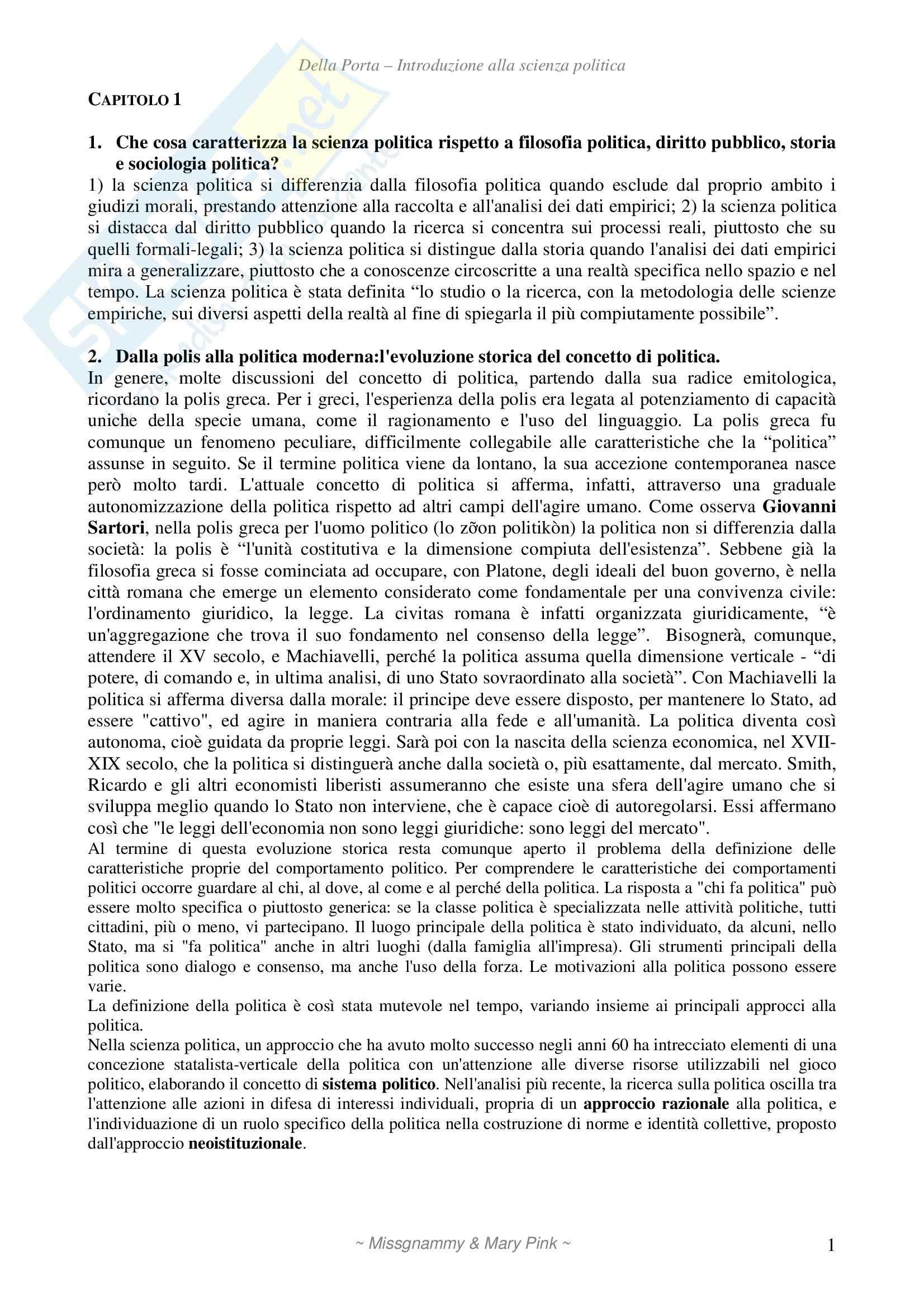 Introduzione alla scienza politica, Della Porta - Domande