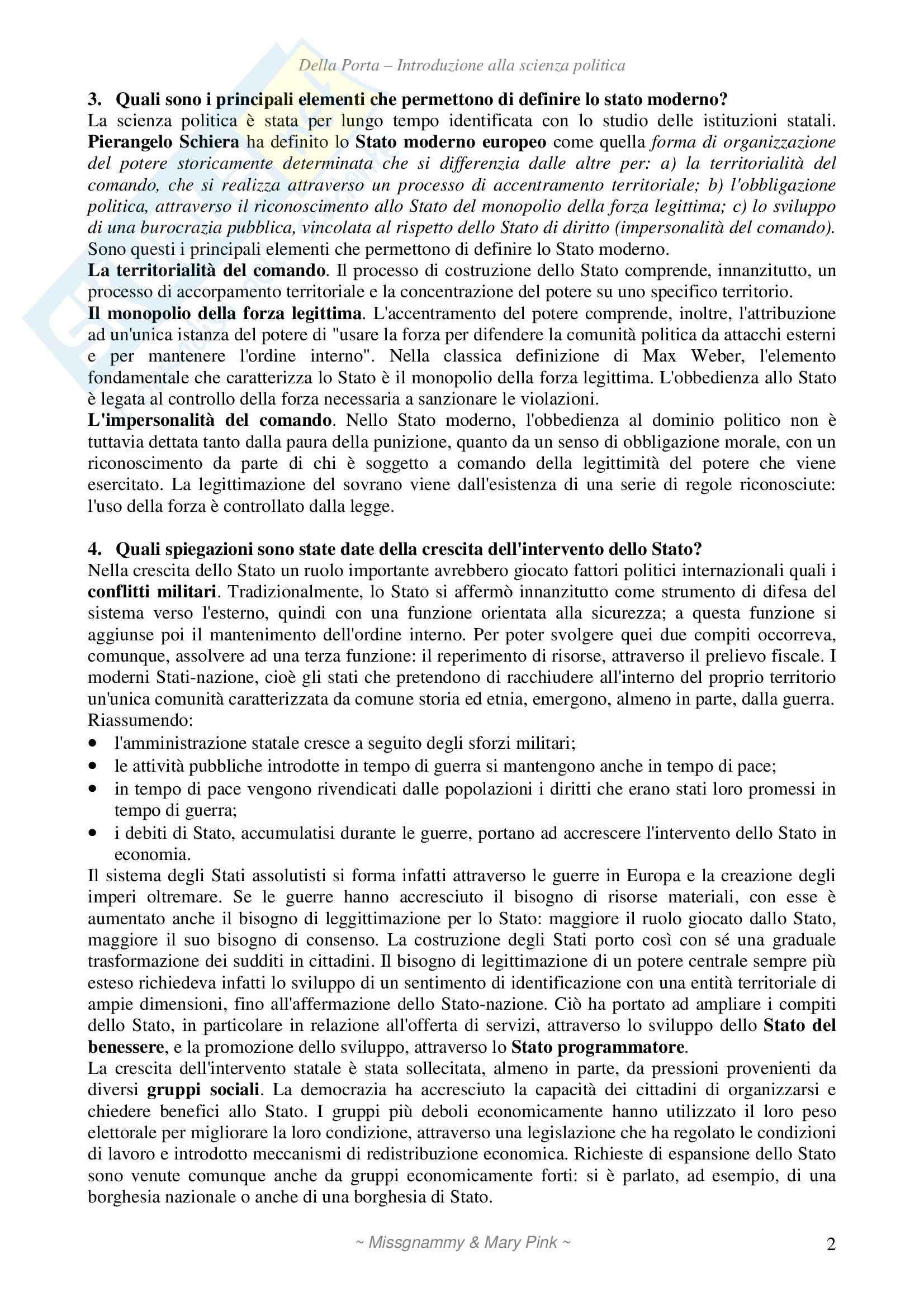 Introduzione alla scienza politica, Della Porta - Domande Pag. 2