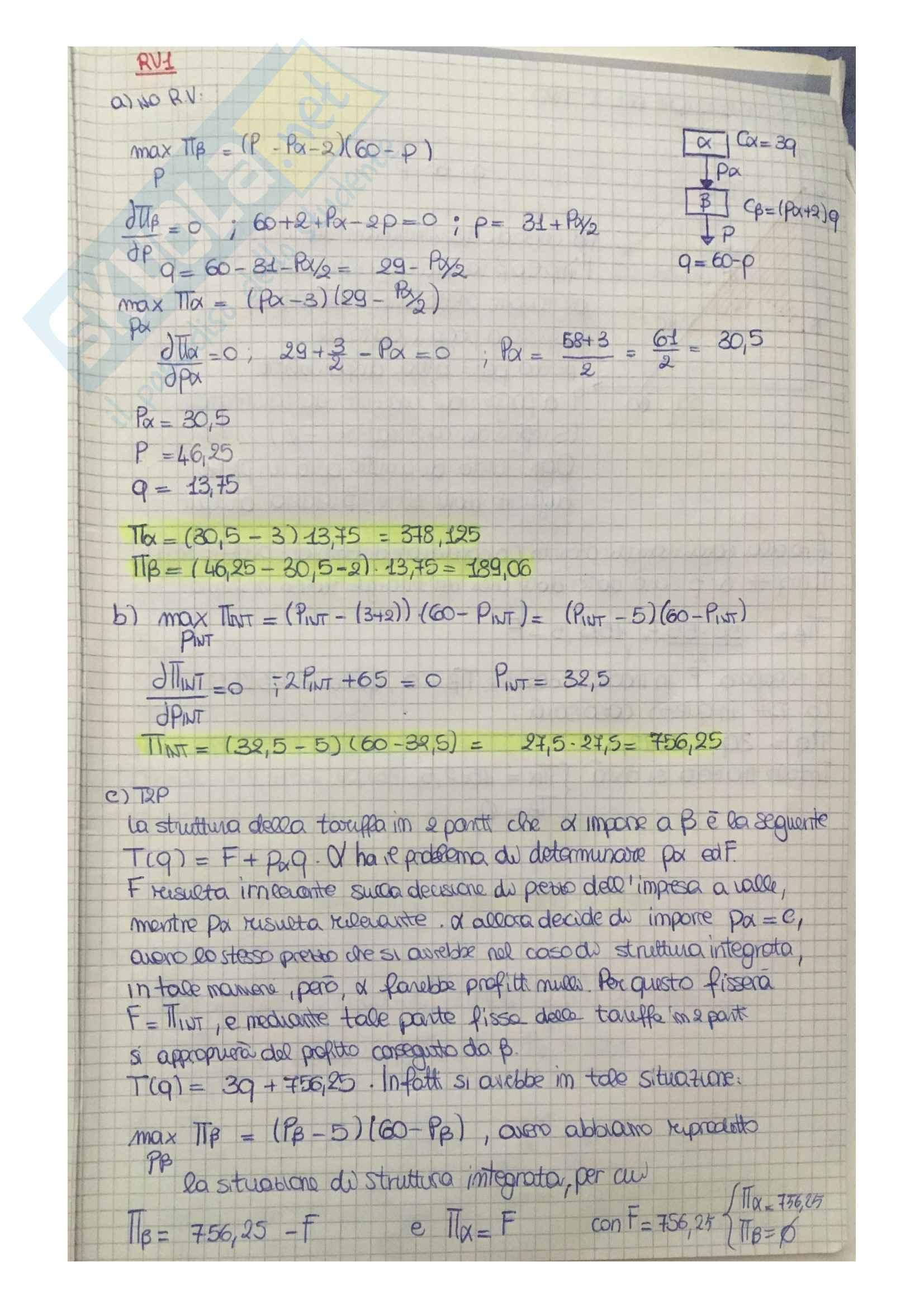 Esercizi svolti per esame Economia dei sistemi industriali (prof. Reverberi e prof. Nastasi)