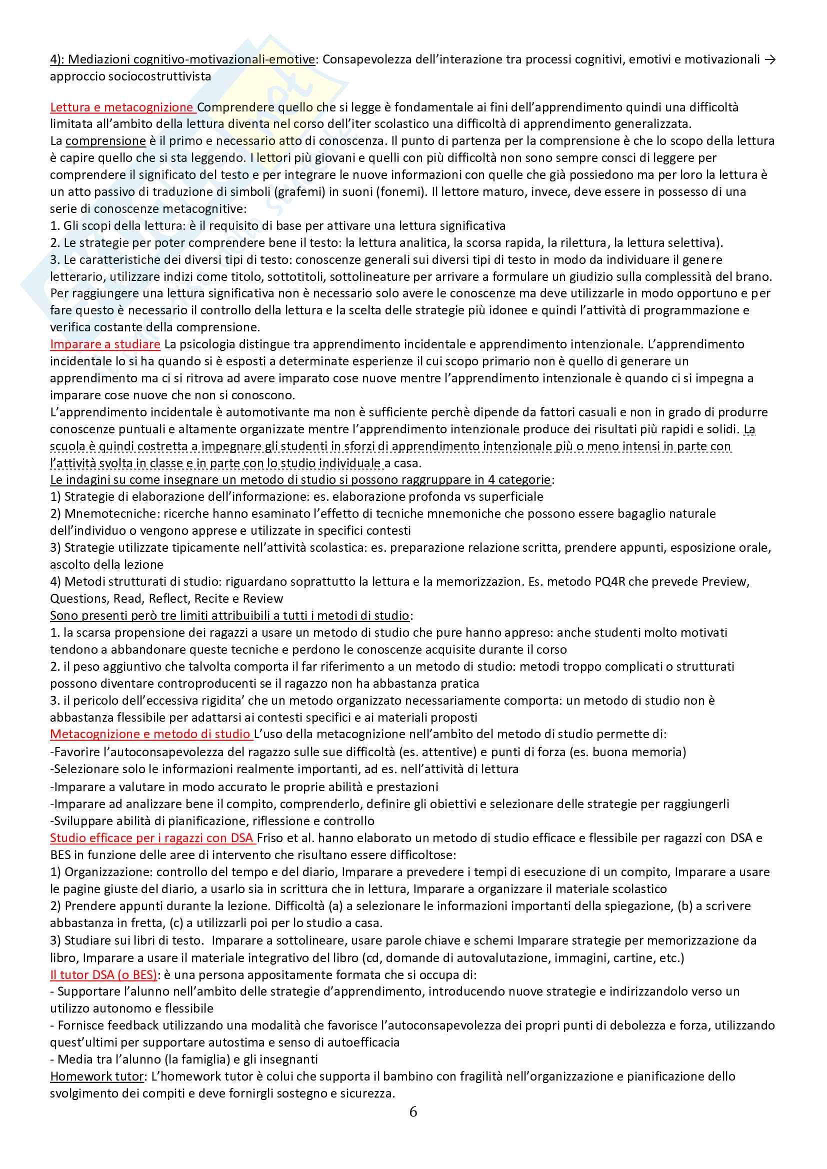 Riassunto esame psicologia della disabilità e dell'integrazione scolastica, prof Marzocchi, libro consigliato BES a scuola, Le Guide Erickson Pag. 6