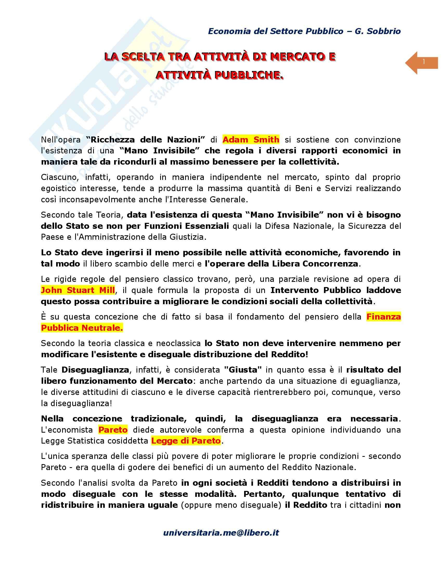 Riassunto esame Scienze Finanze, prof. D'Agostino, libro consigliato Economia del Settore Pubblico, Sobbrio