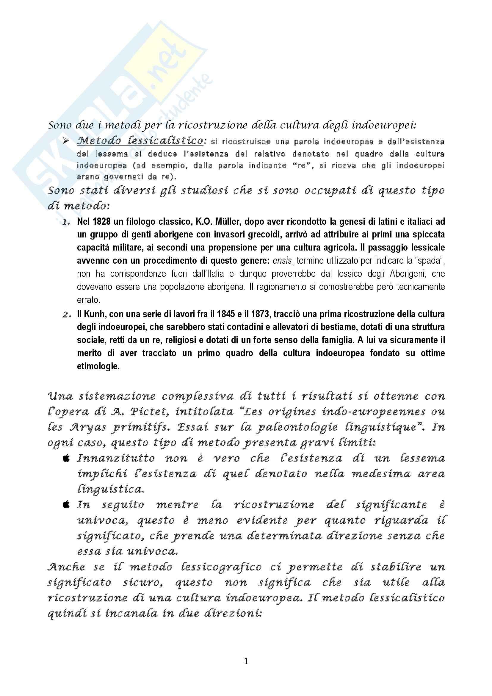 Riassunto esame Glottologia e linguistica, prof. Longobardi, libro consigliato Introduzione alla lingua e alla cultura degli indoeuropei, Campanile