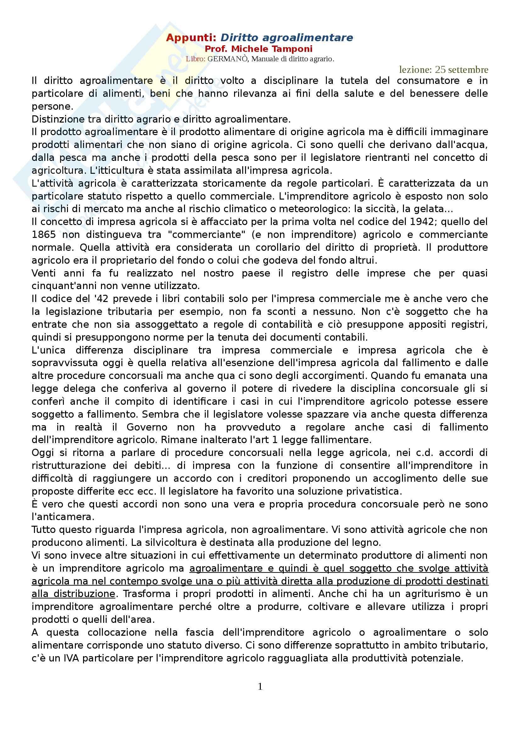Diritto agroalimentare - Appunti