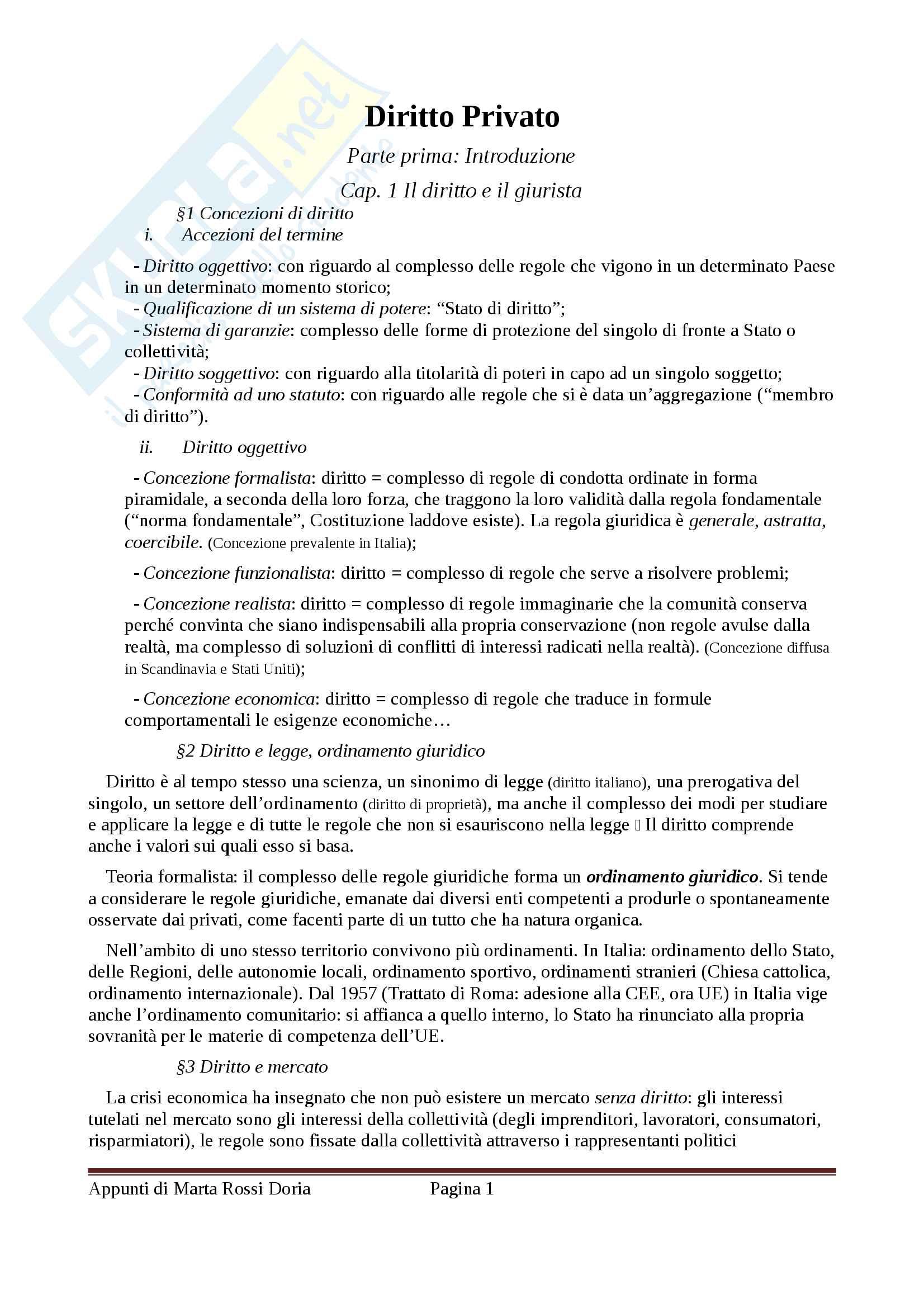 Riassunto esame Diritto Privato, docente Di Porto, libro consigliato Manuale di Diritto Privato, Alpa, integrato con il Torrente-Schlesinger