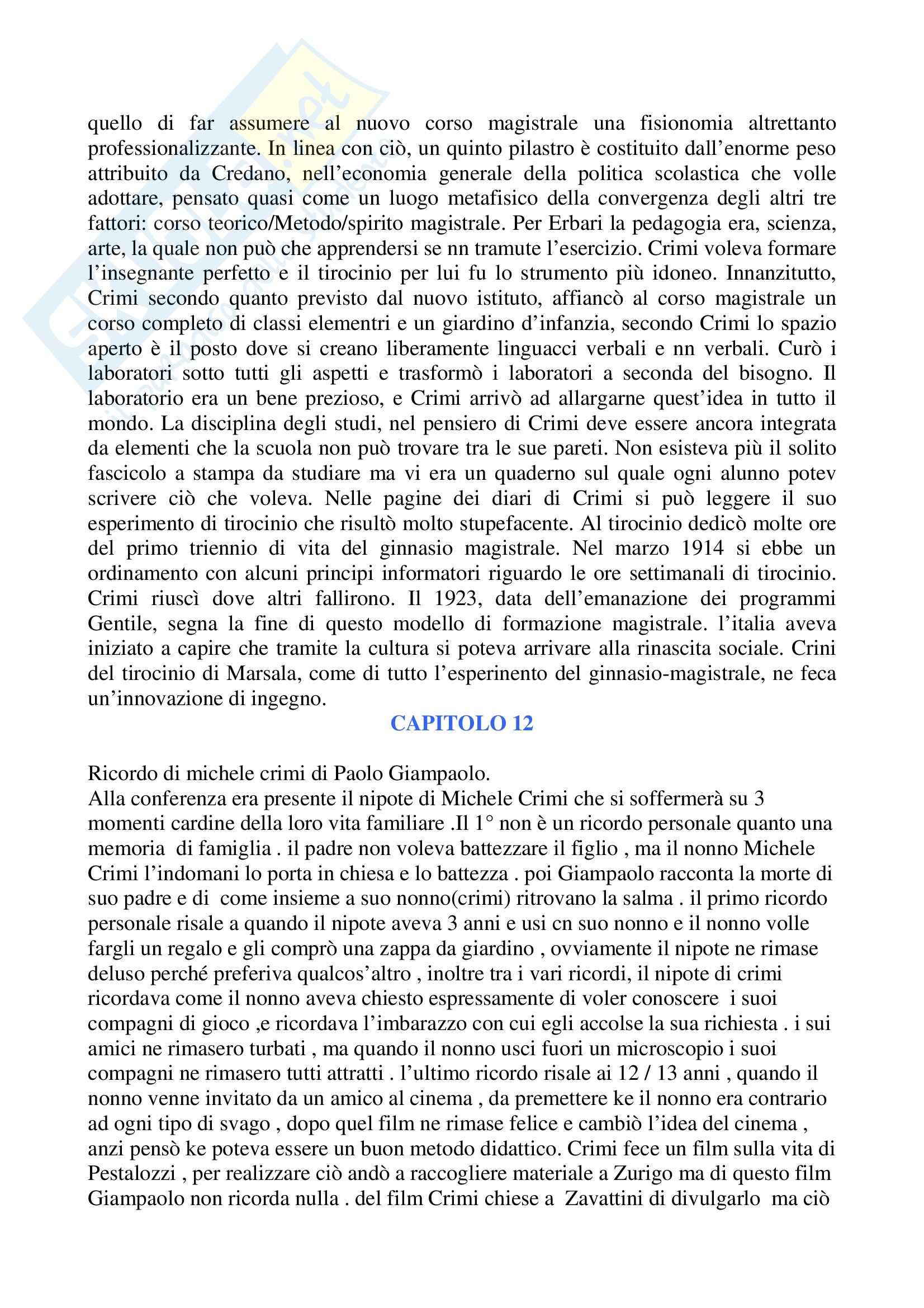 Riassunto esame Pedagogia, prof. indefinito, libro consigliato Lo Sperimentalismo Pedagogico in Sicilia e Michele Crimi, Tomarchio Pag. 16