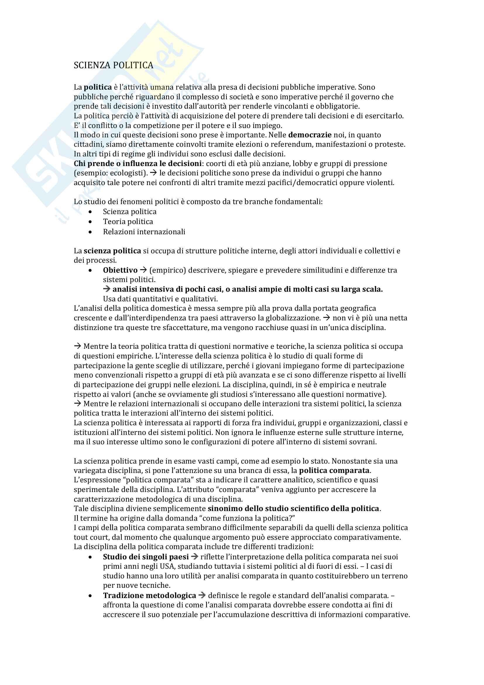 Riassunto esame Scienza politica, prof. L.Fasano, libro consigliato Scienza politica, Caramani