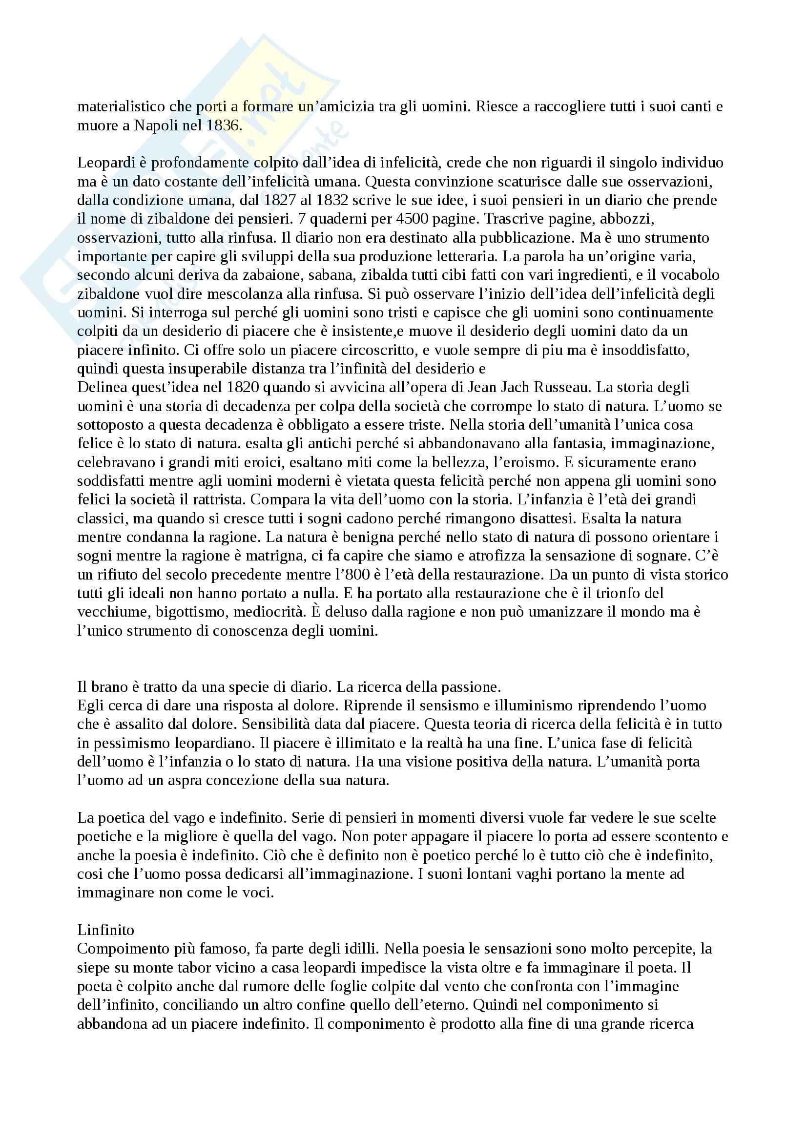 Giacomo Leopardi Vita - Pensiero - Opere analizzate - Appunti Pag. 2