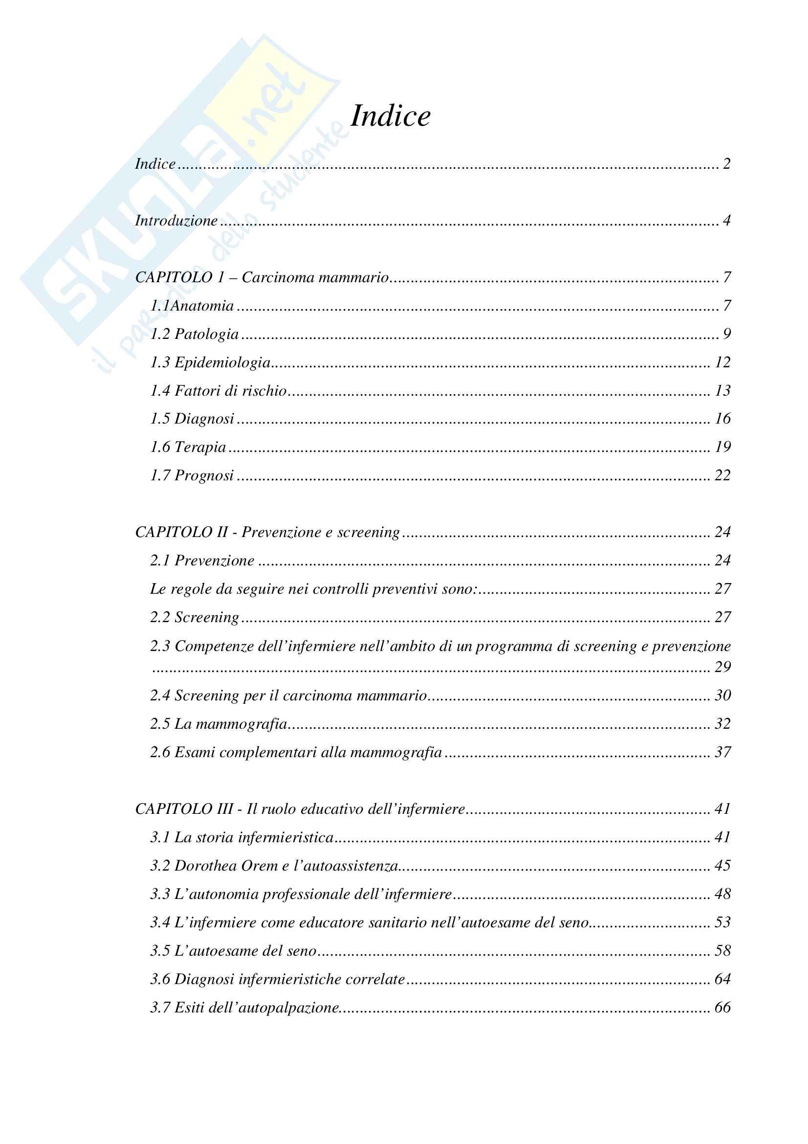 Tesi Ruolo dell'infermiere nella prevenzione oncologica femminile: l'autoesame del seno Pag. 2