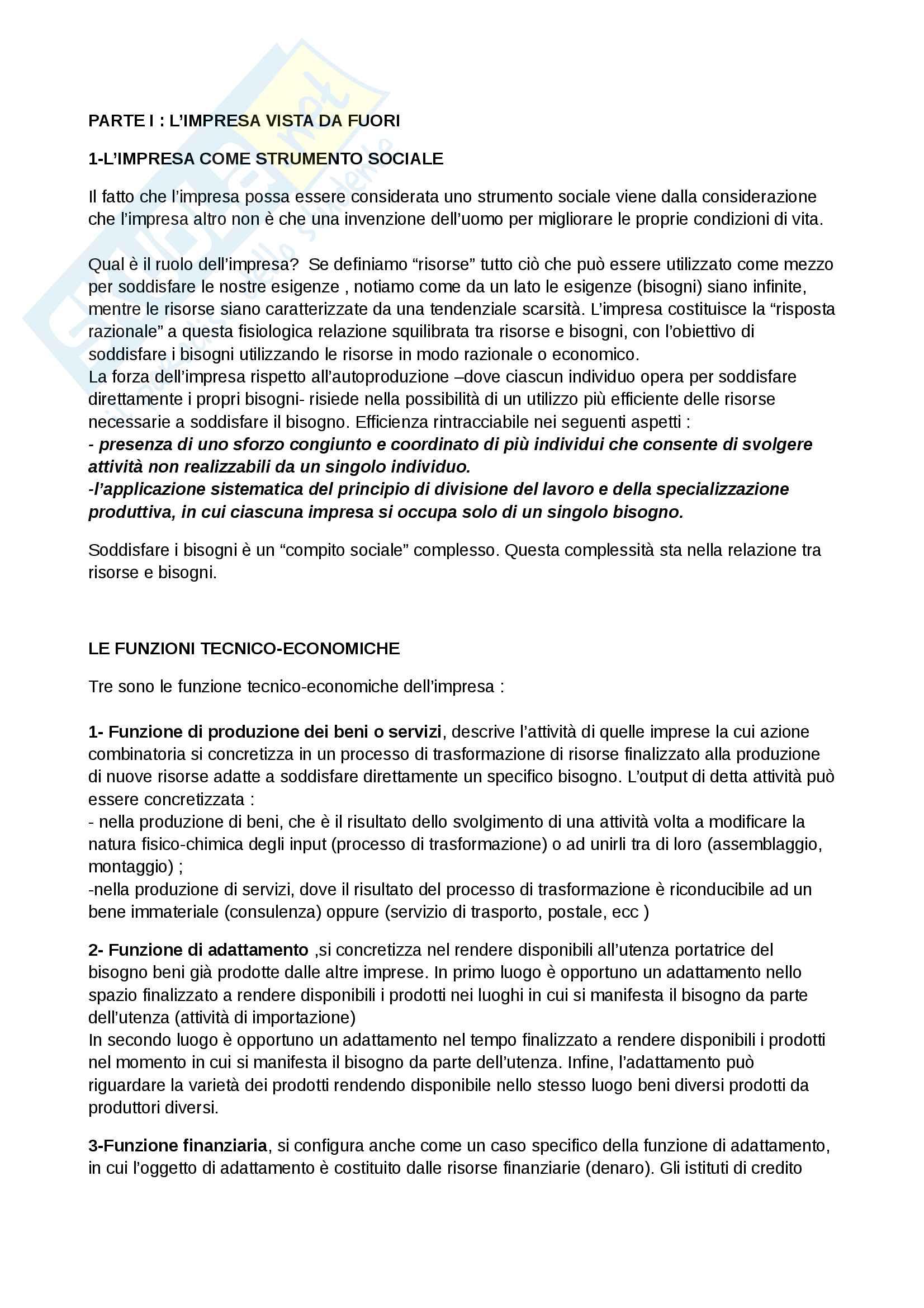 Riassunto esame di Economia e Gestione delle Imprese, prof. R. Moliterni. Libro consigliato Economia e Gestione delle Imprese