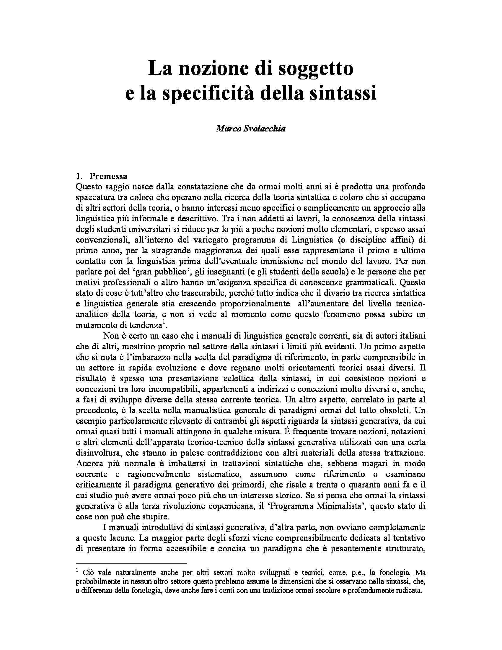 Dispensa di Linguistica - La nozione di soggetto