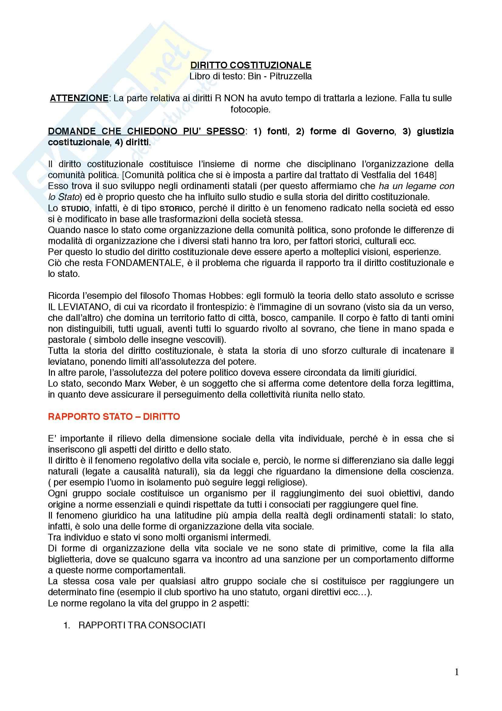 Diritto Costituzionale I - Appunti