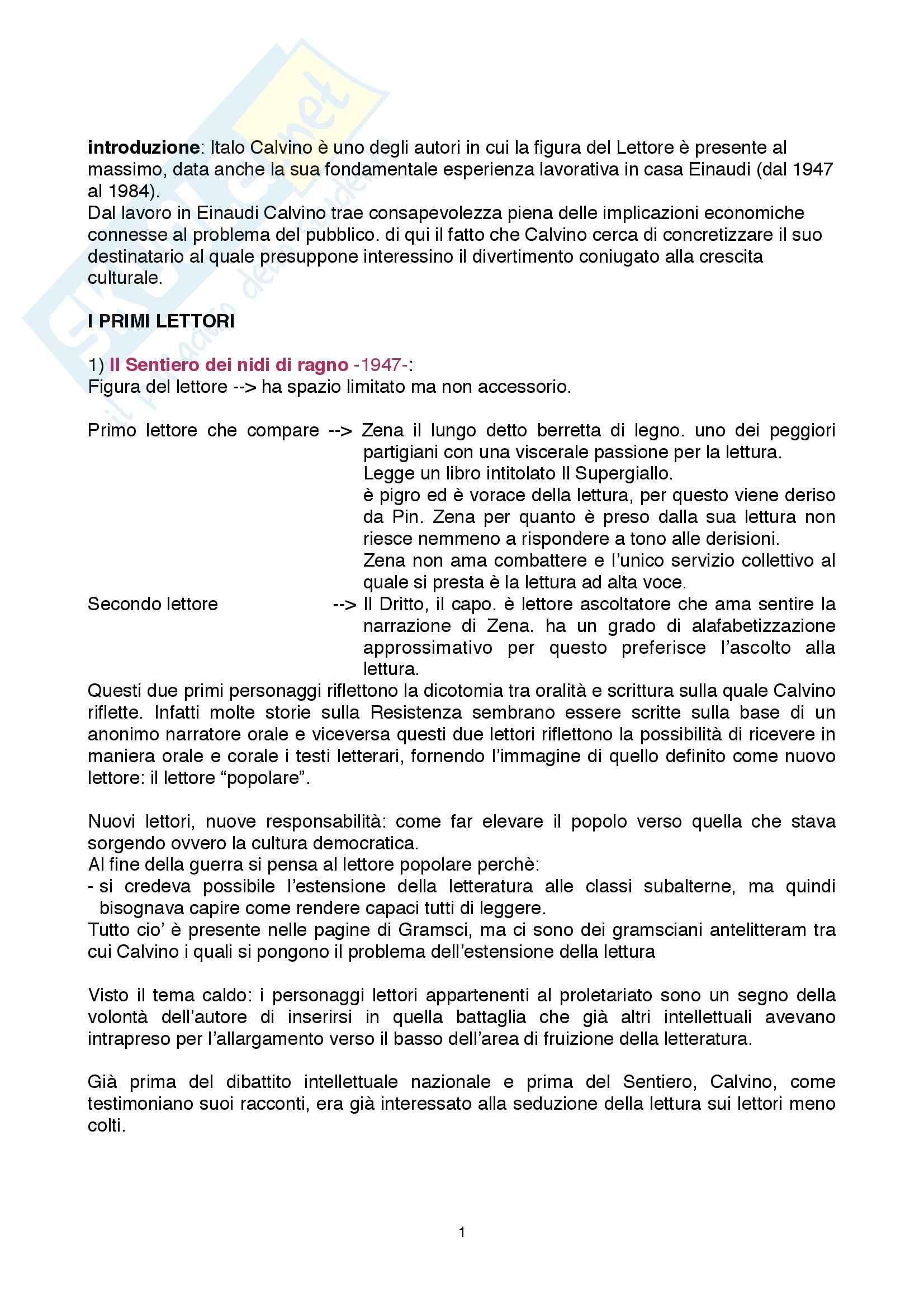 Riassunto esame Letteratura italiana, prof. Cadioli, libro consigliato I personaggi lettori nell'opera di Italo Calvino, Piazza