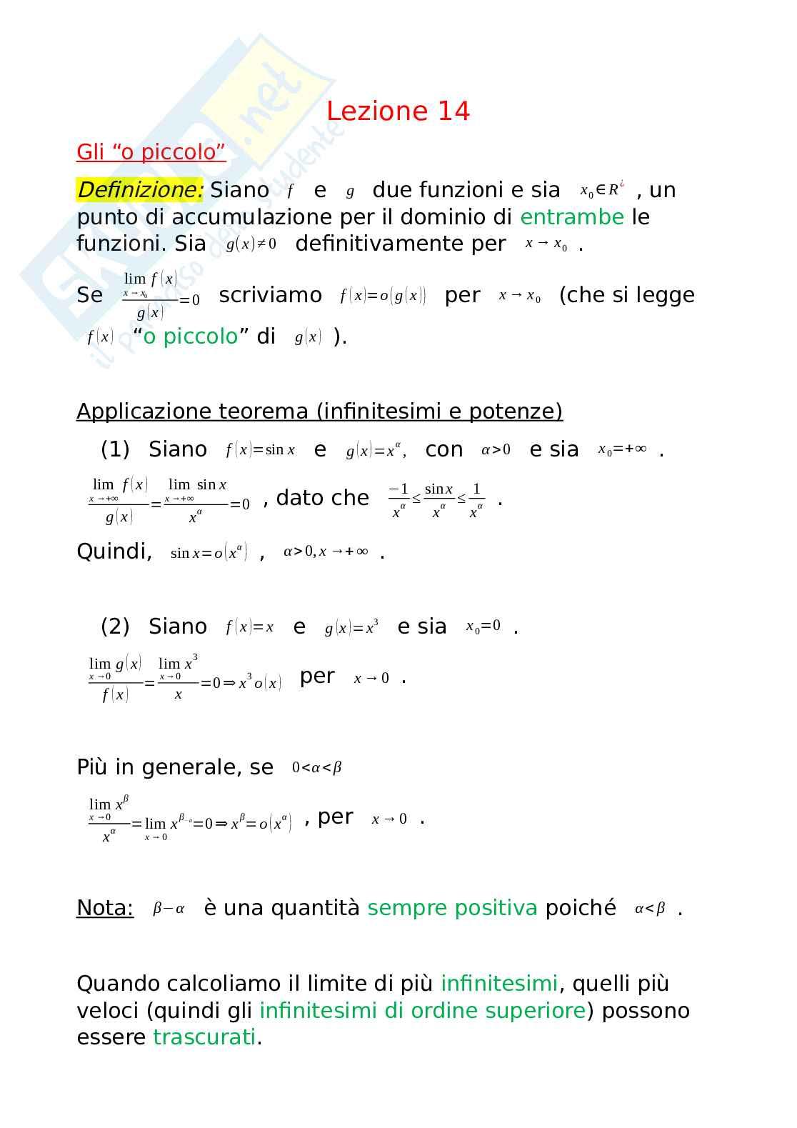 """Gli """"o-piccolo"""" per risolvere i limiti di funzioni, Analisi matematica"""