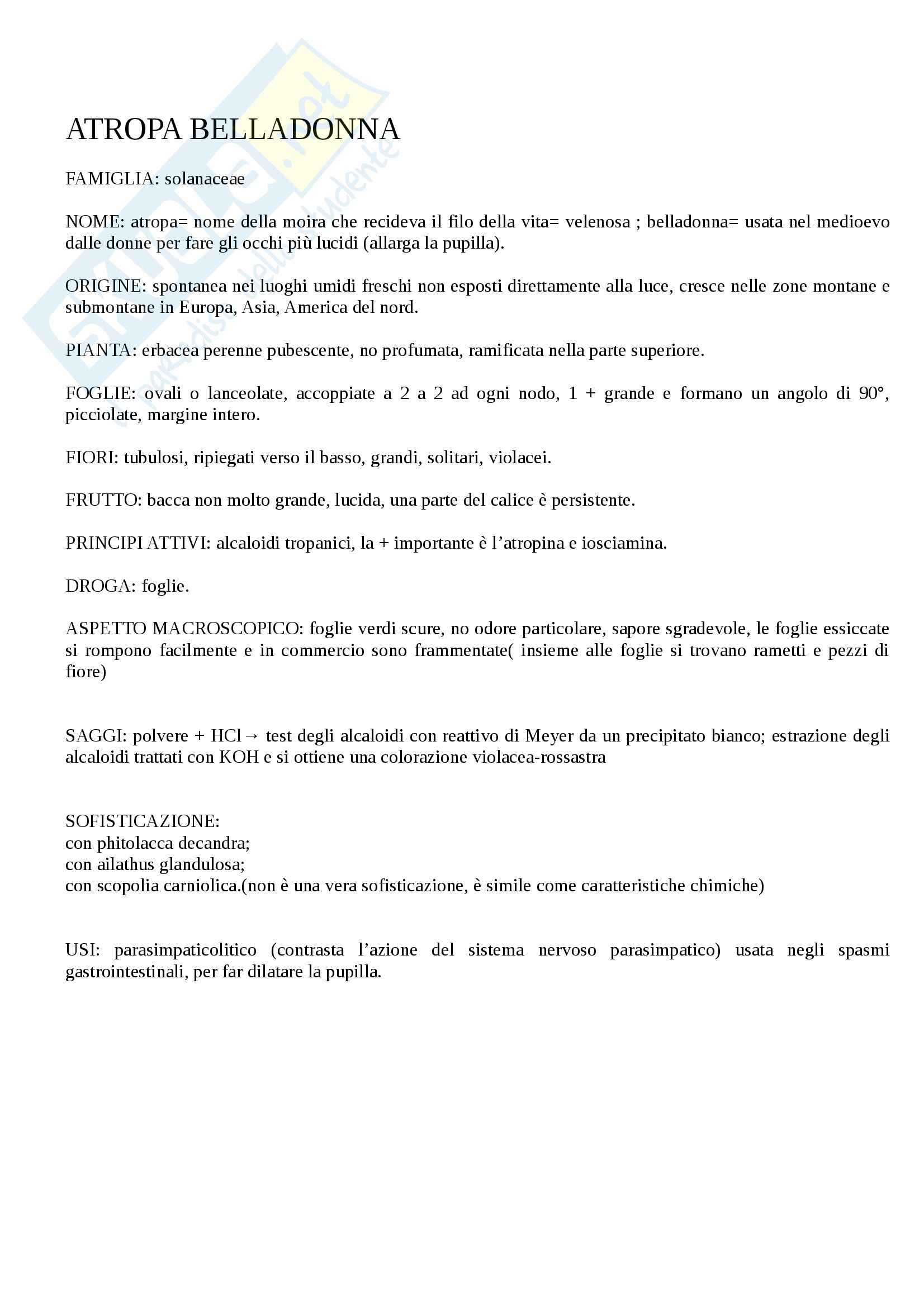 Tecniche Farmacognostiche - Appunti