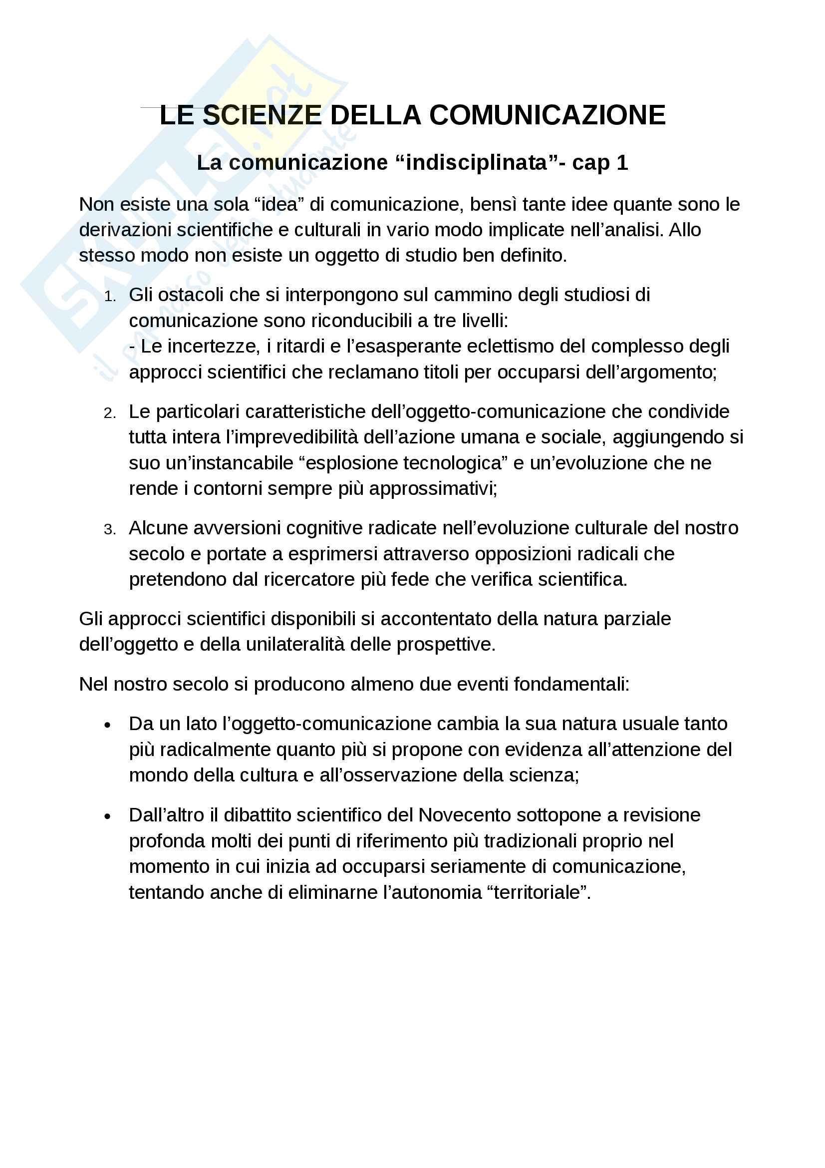 Riassunto esame sociologia della comunicazione. Libro consigliato La scienza della comunicazione, Morcellini, Fatelli