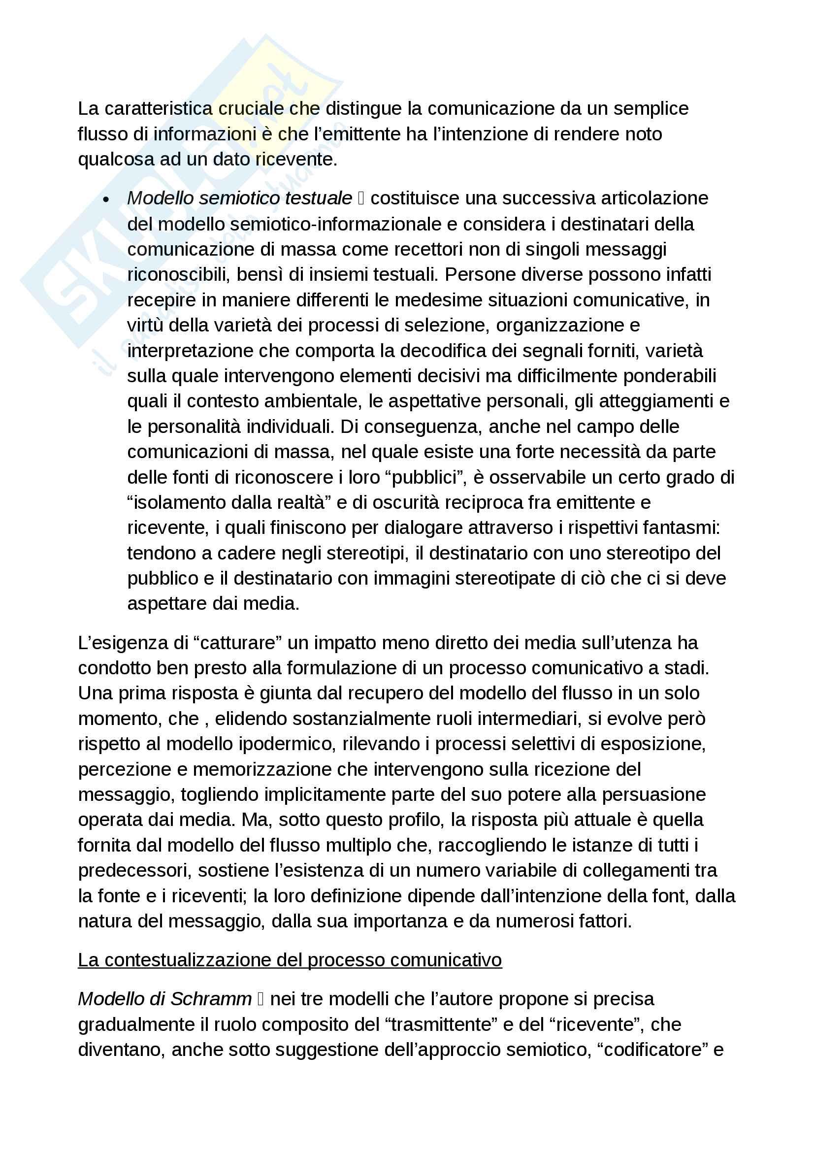 Riassunto esame sociologia della comunicazione. Libro consigliato La scienza della comunicazione, Morcellini, Fatelli Pag. 41