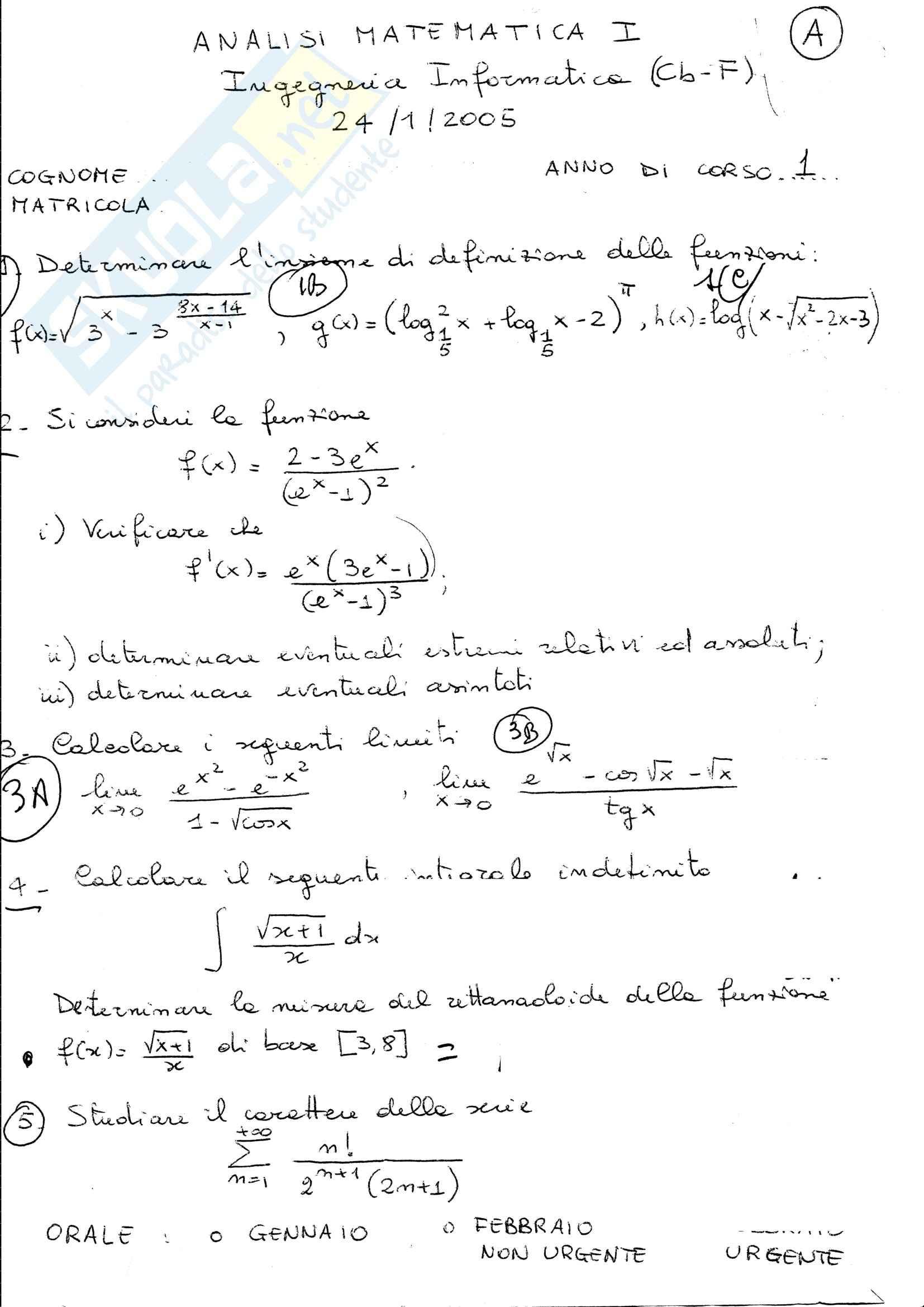 Analisi I - prova d'esame gennaio 2005