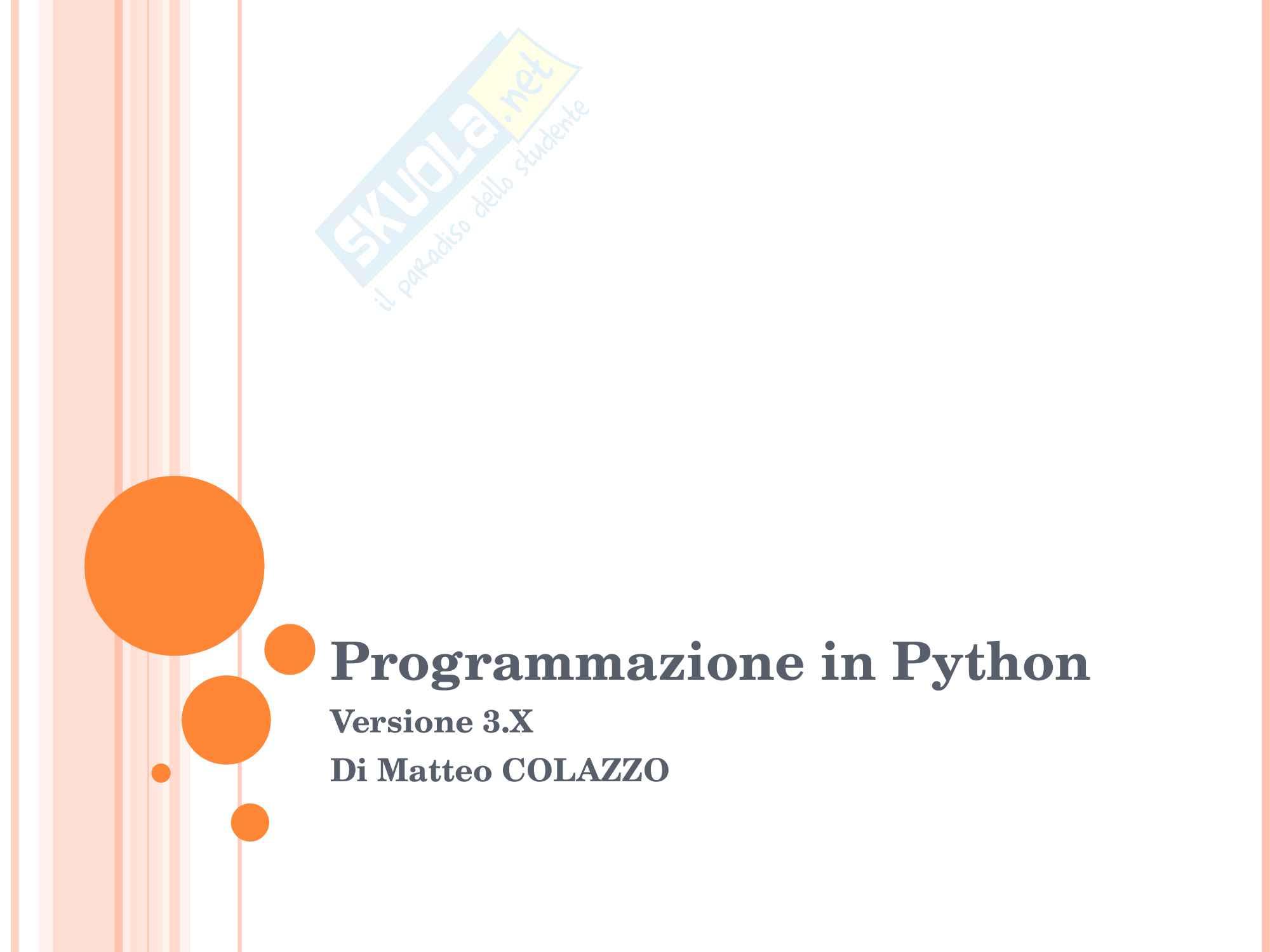 Programmazione in Python Lezione 1