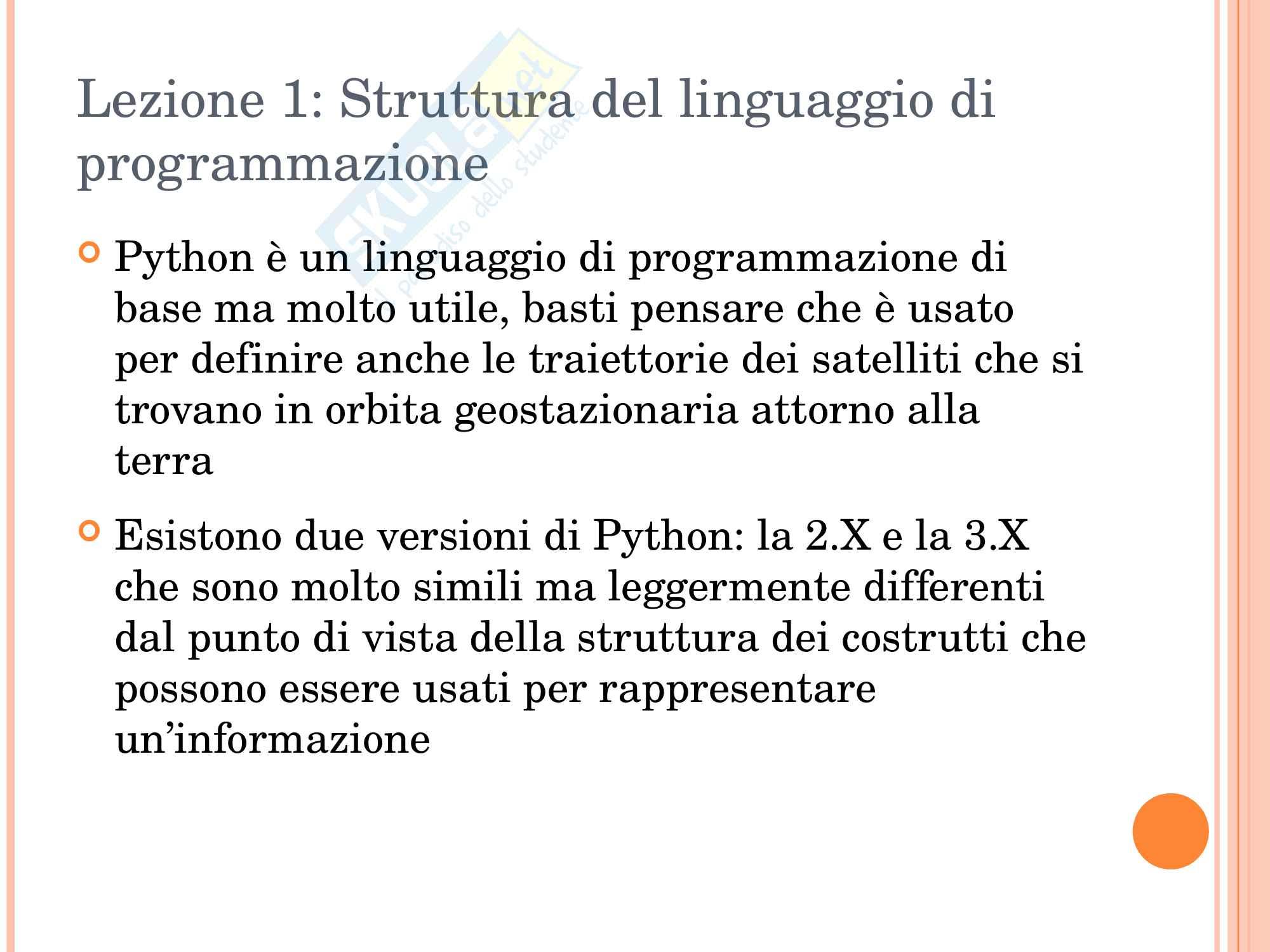 Programmazione in Python Lezione 1 Pag. 2