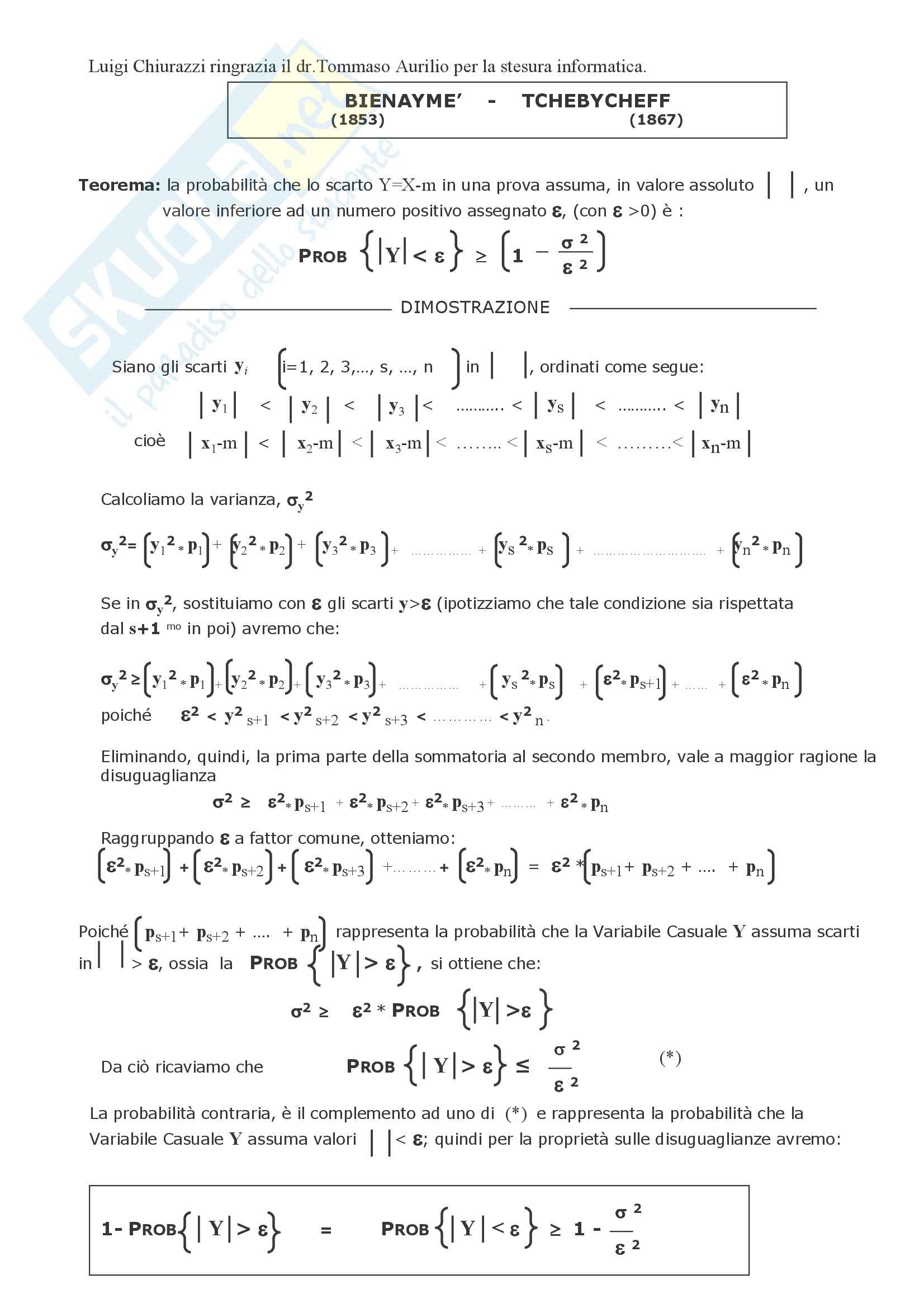 Matematica finanziaria - teorema di Bienayme e Tchebycheff