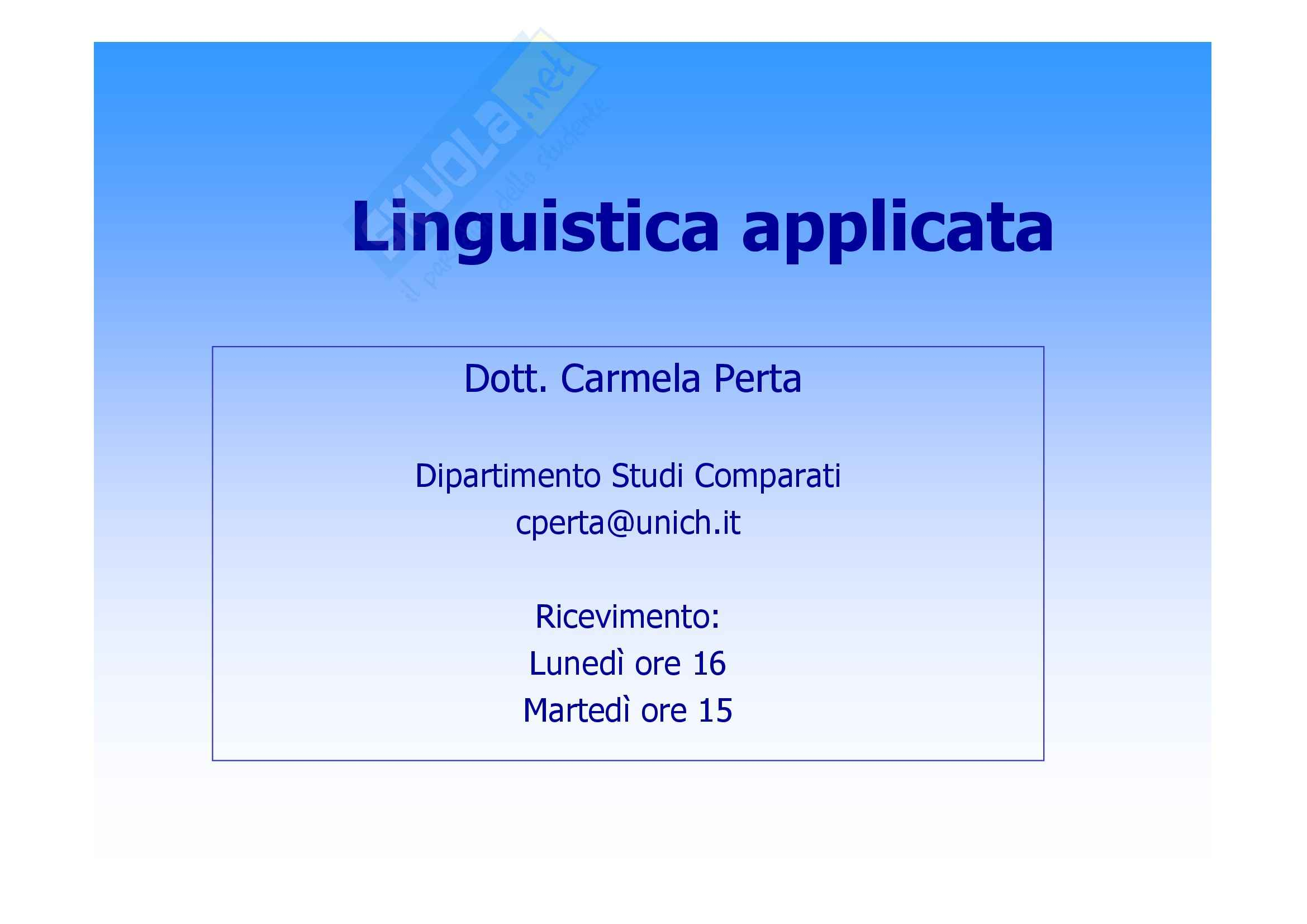 Linguistica applicata - Appunti