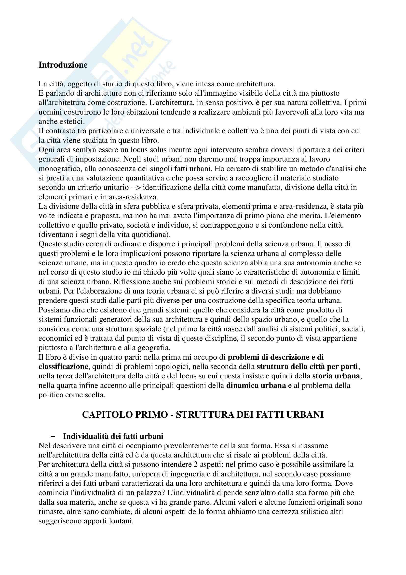 Riassunto esame Analisi della Comunicazione Visiva, prof. Leonardi, libro consigliato L'Architettura della Città, Rossi