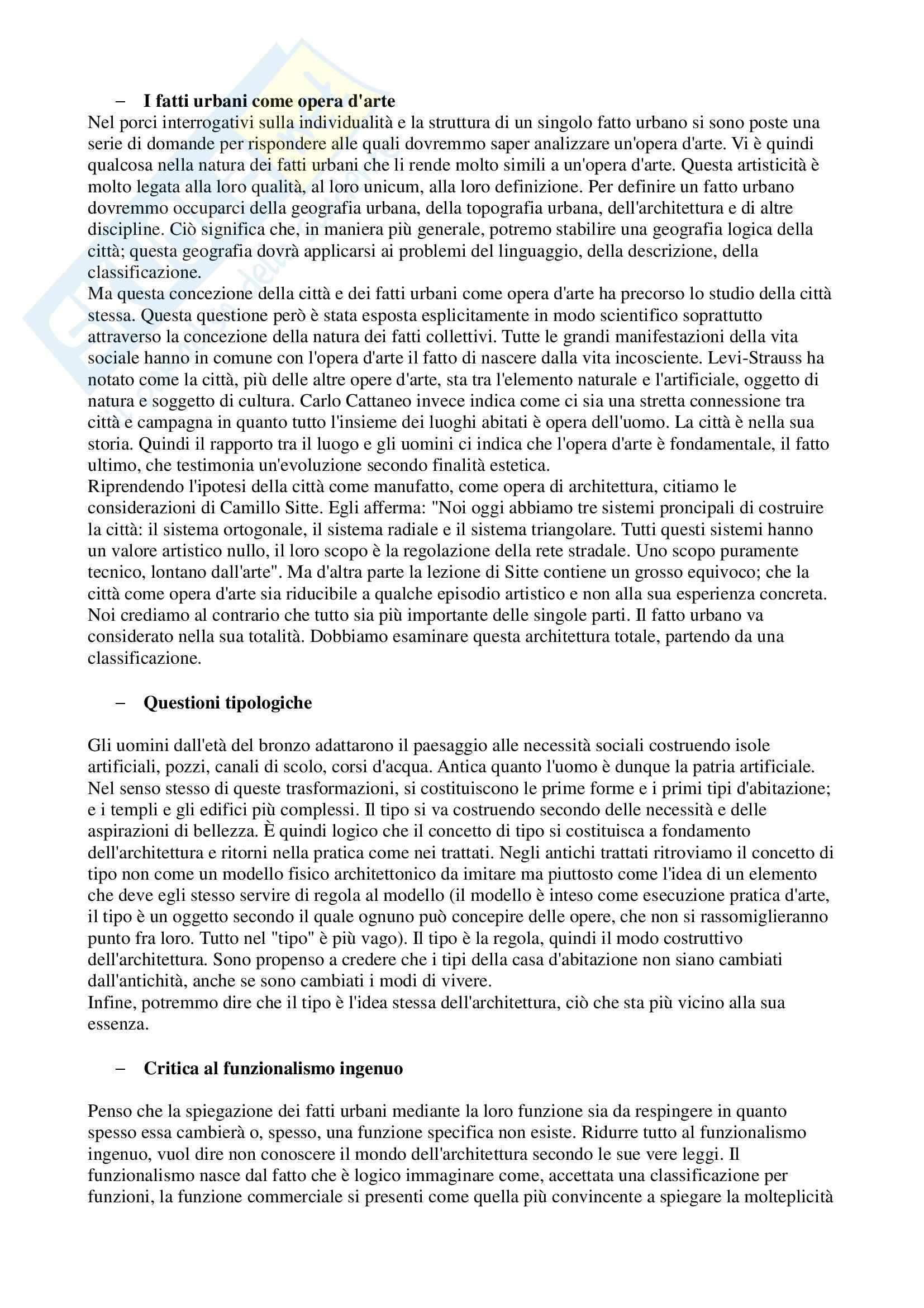 Riassunto esame Analisi della Comunicazione Visiva, prof. Leonardi, libro consigliato L'Architettura della Città, Rossi Pag. 2