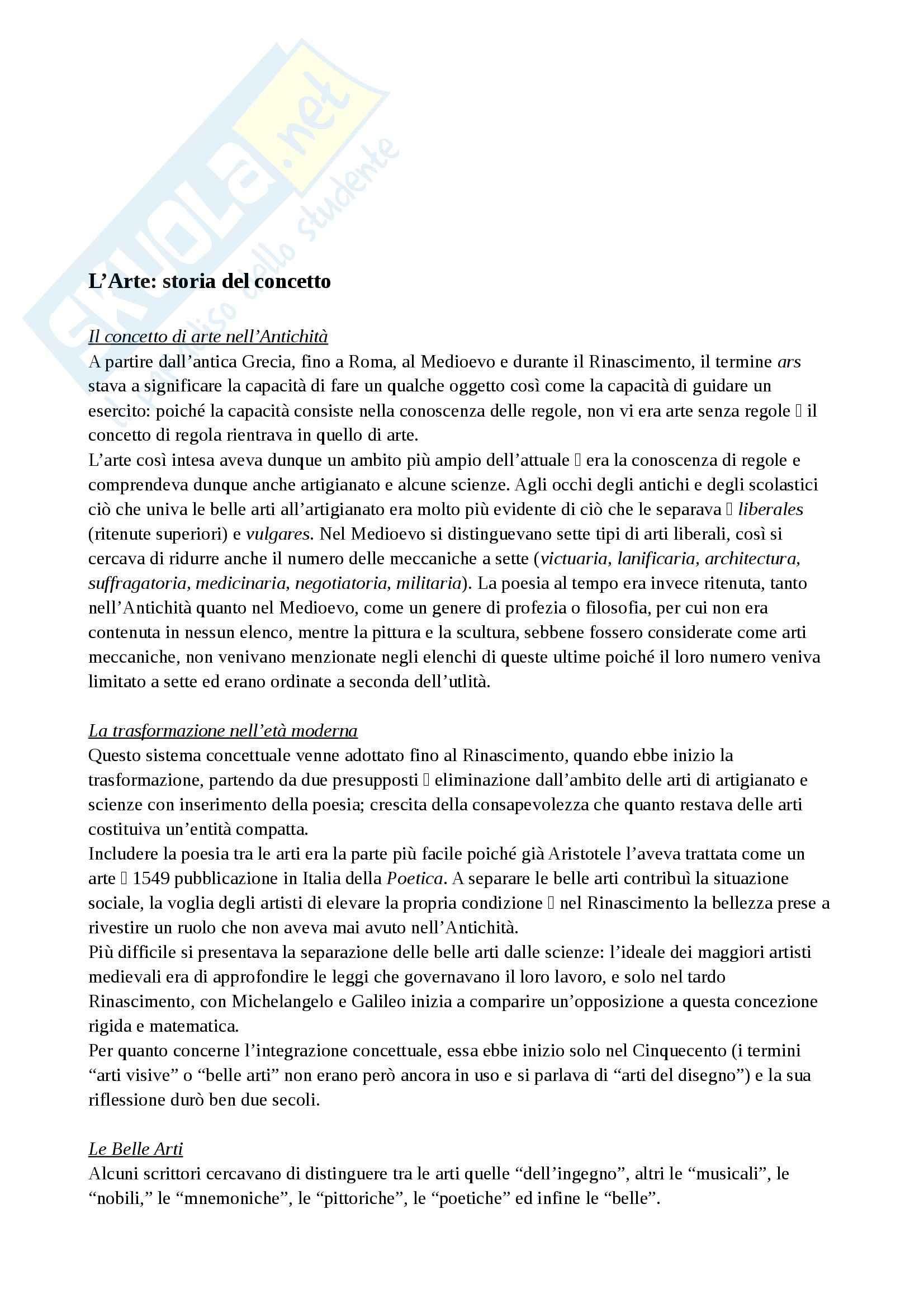 Riassunto esame Estetica, prof. Diodato, libro consigliato Storia di sei Idee, Tatarkiewicz