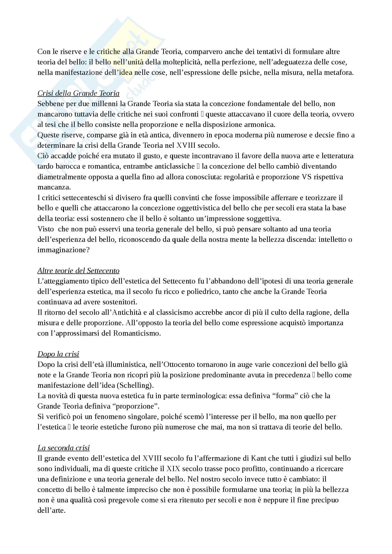 Riassunto esame Estetica, prof. Diodato, libro consigliato Storia di sei Idee, Tatarkiewicz Pag. 11
