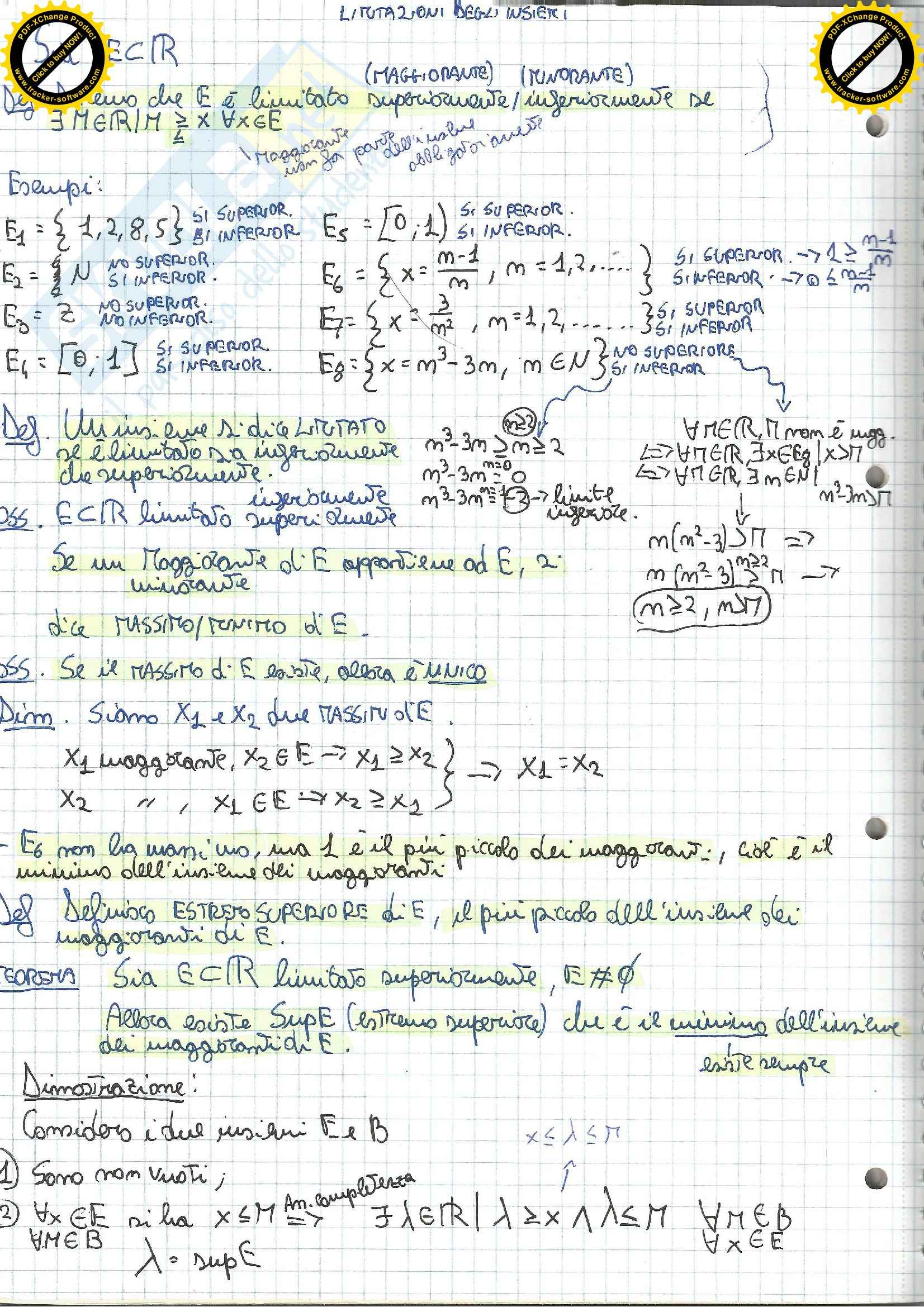 Lezioni, Analisi matematica I