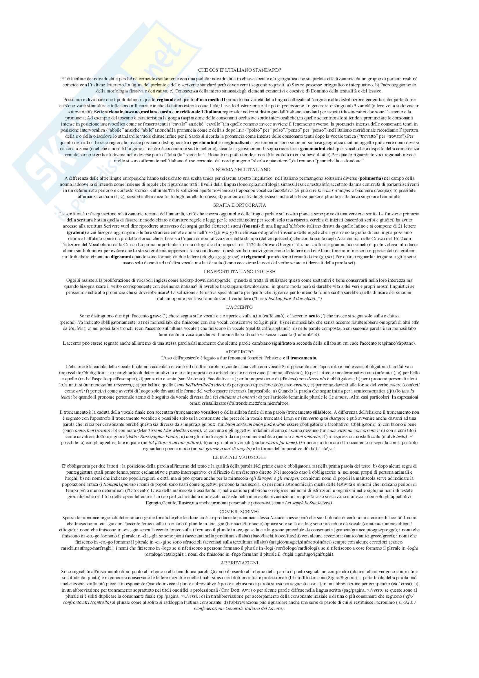 Riassunto esame Istituzioni di Linguistica Italiana, prof. Giovanardi, libro consigliato L' Italiano da scrivere, Giovanardi