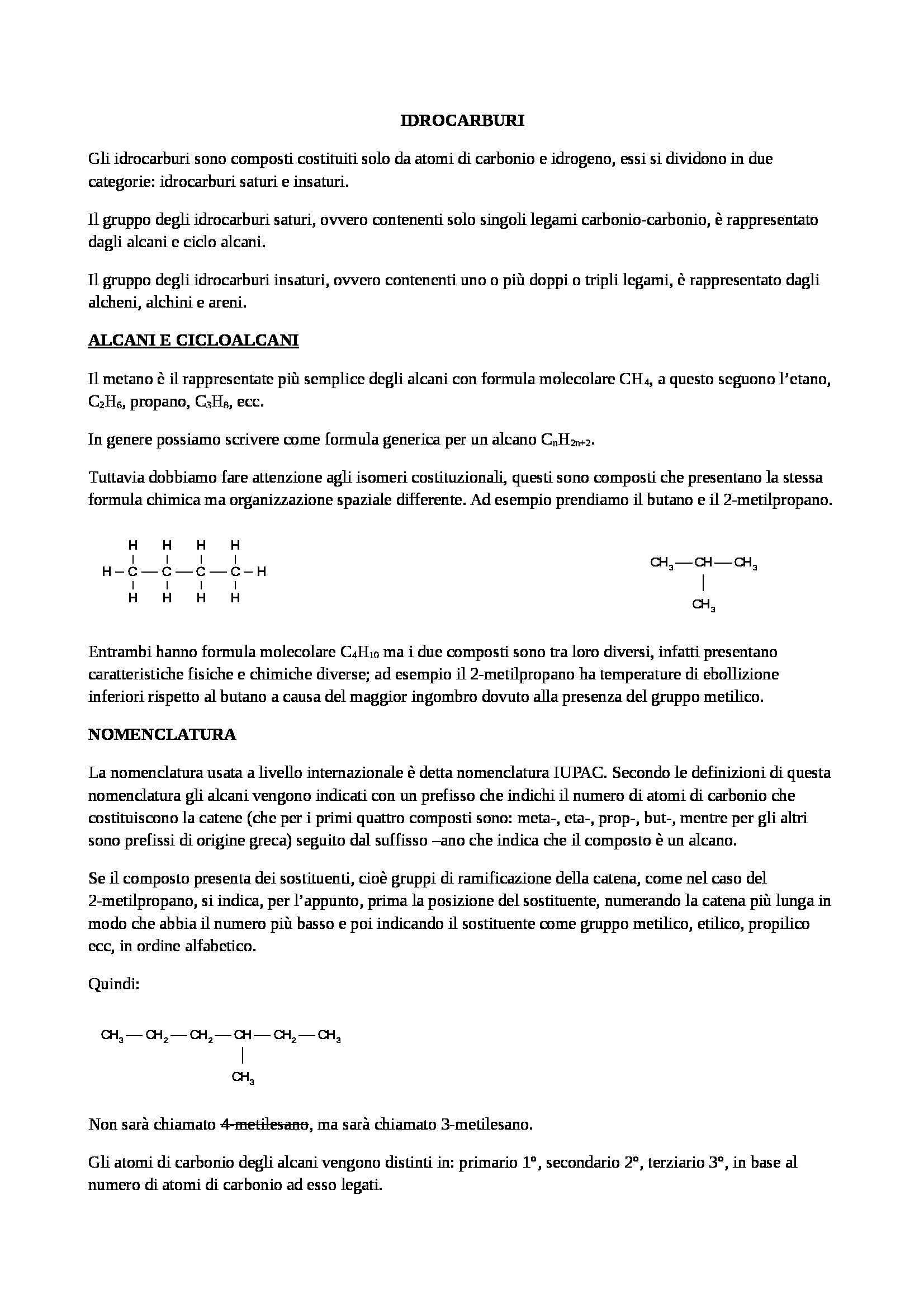 Chimica organca - Alcani, alcheni e alchini