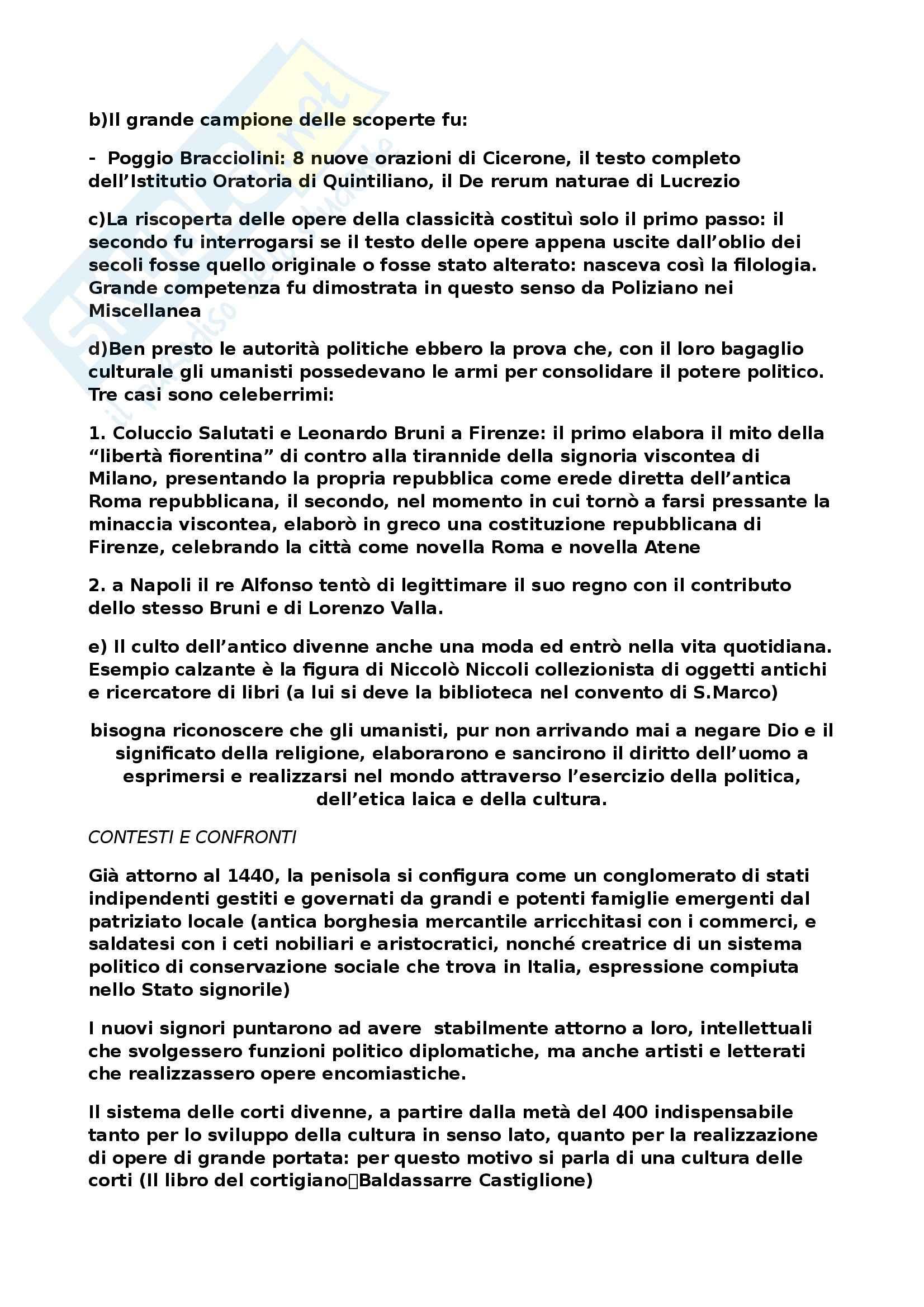 Riassunto esame Letteratura Italiana del Rinascimento, prof. Coppini, libro consigliato Storia della Letteratura Italiana, vol.III:Il Quattrocento, Malato Pag. 2