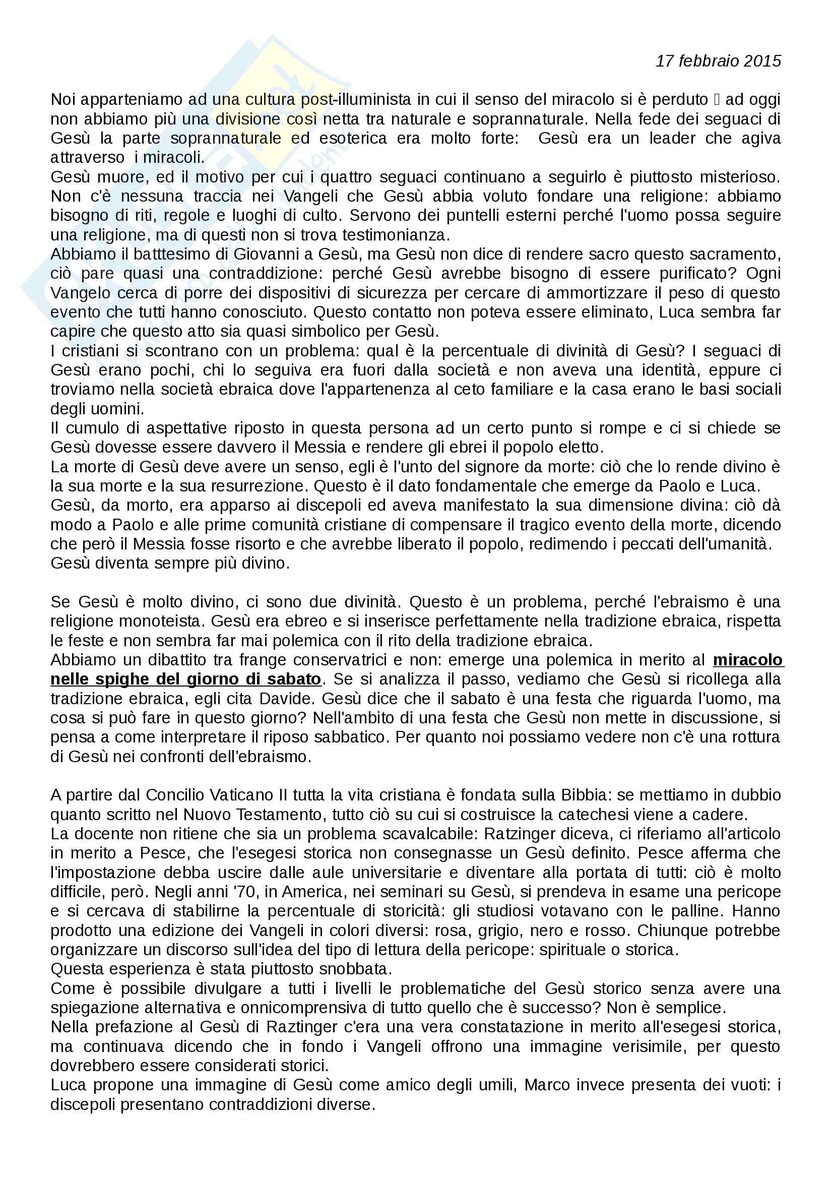 Appunti di Storia del Cristianesimo (lezioni complete) Pag. 1