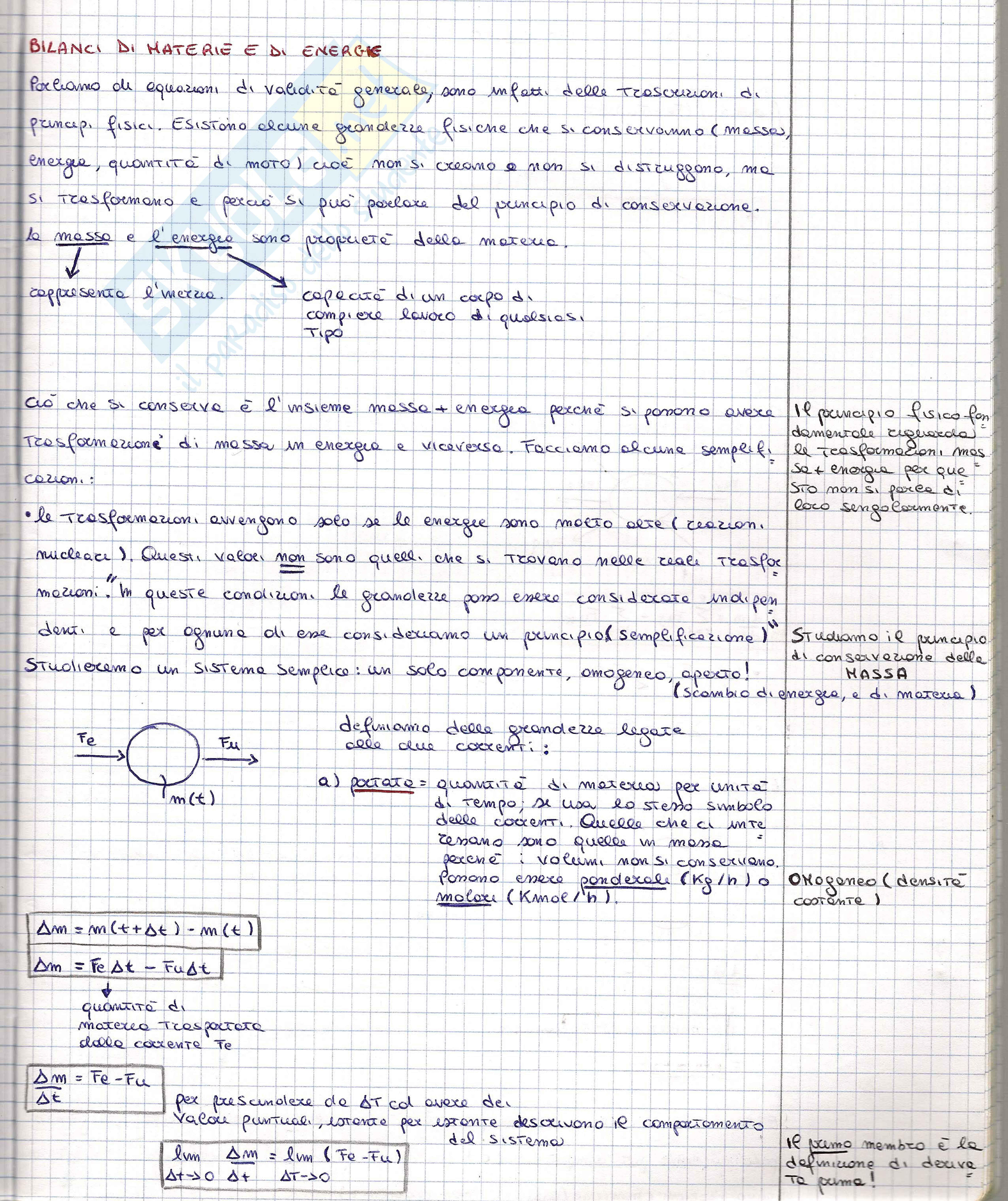 Fondamenti delle operazioni di separazione - Appunti