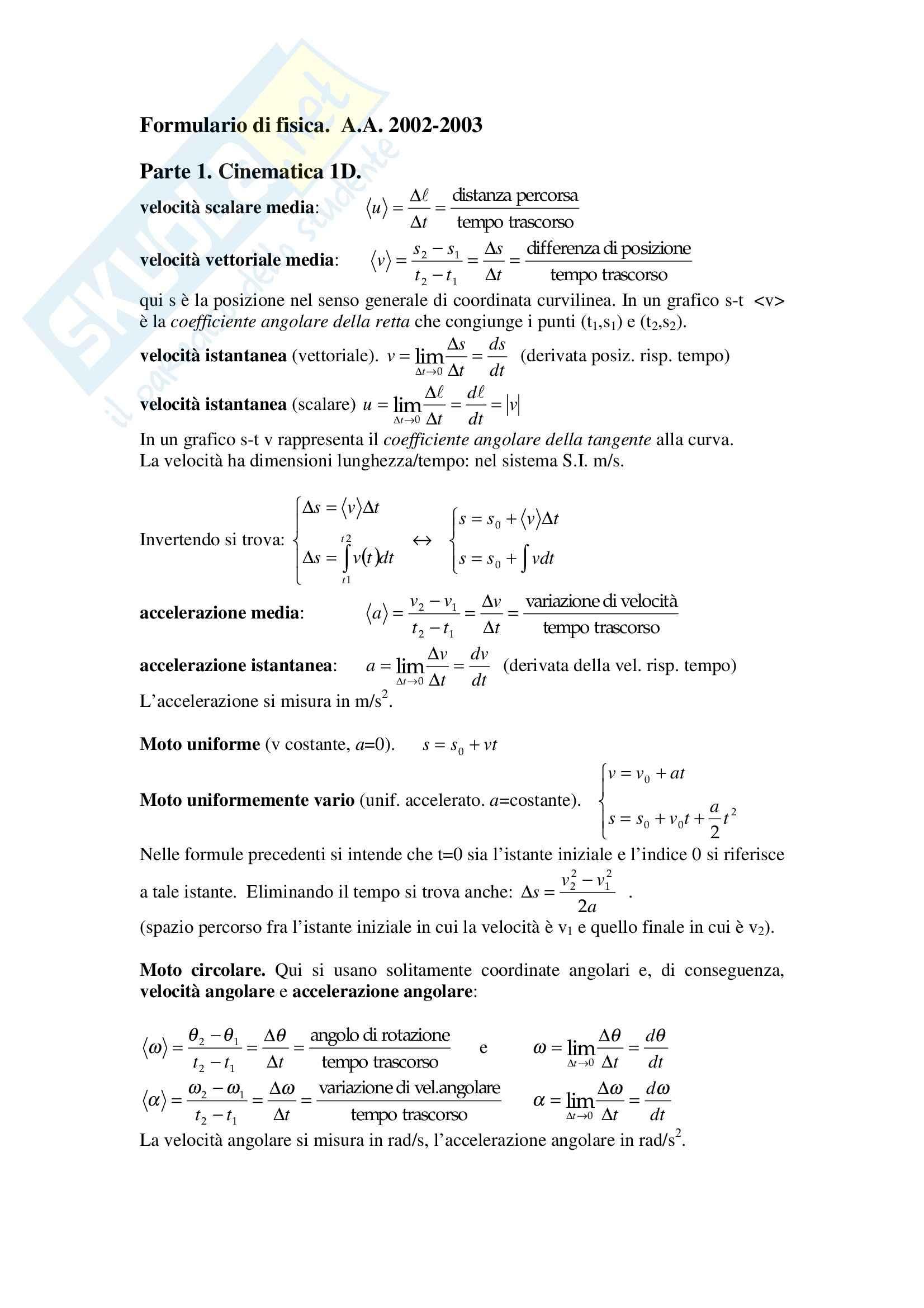 Fisica statistica ed informatica – Formulario