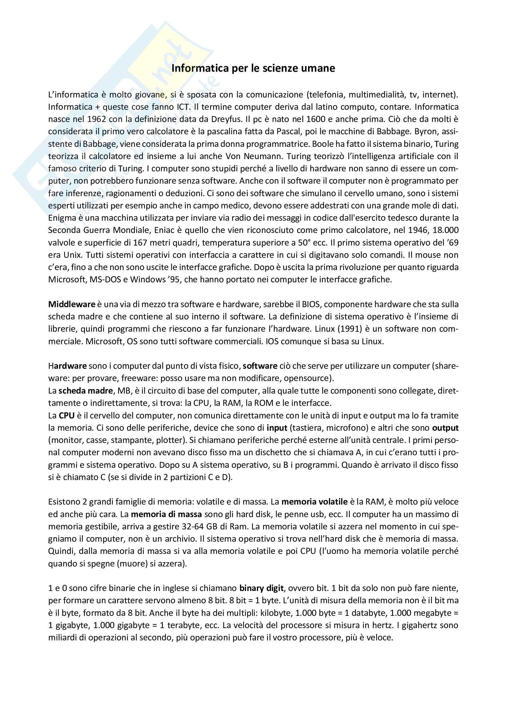 Riassunto esame Informatica per le scienze umane, prof. Rizzo, materiale consigliato: slide delle lezioni