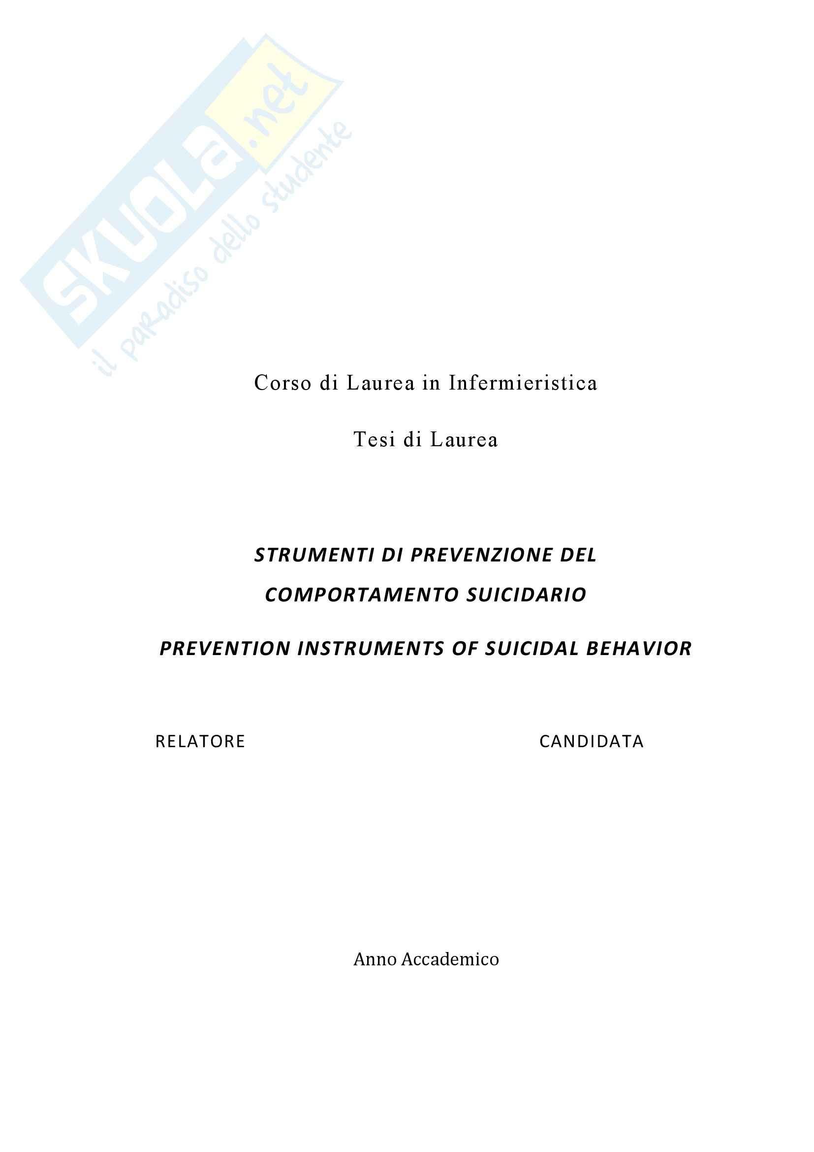 Strumenti di prevenzione del comportamento suicidario - Tesi