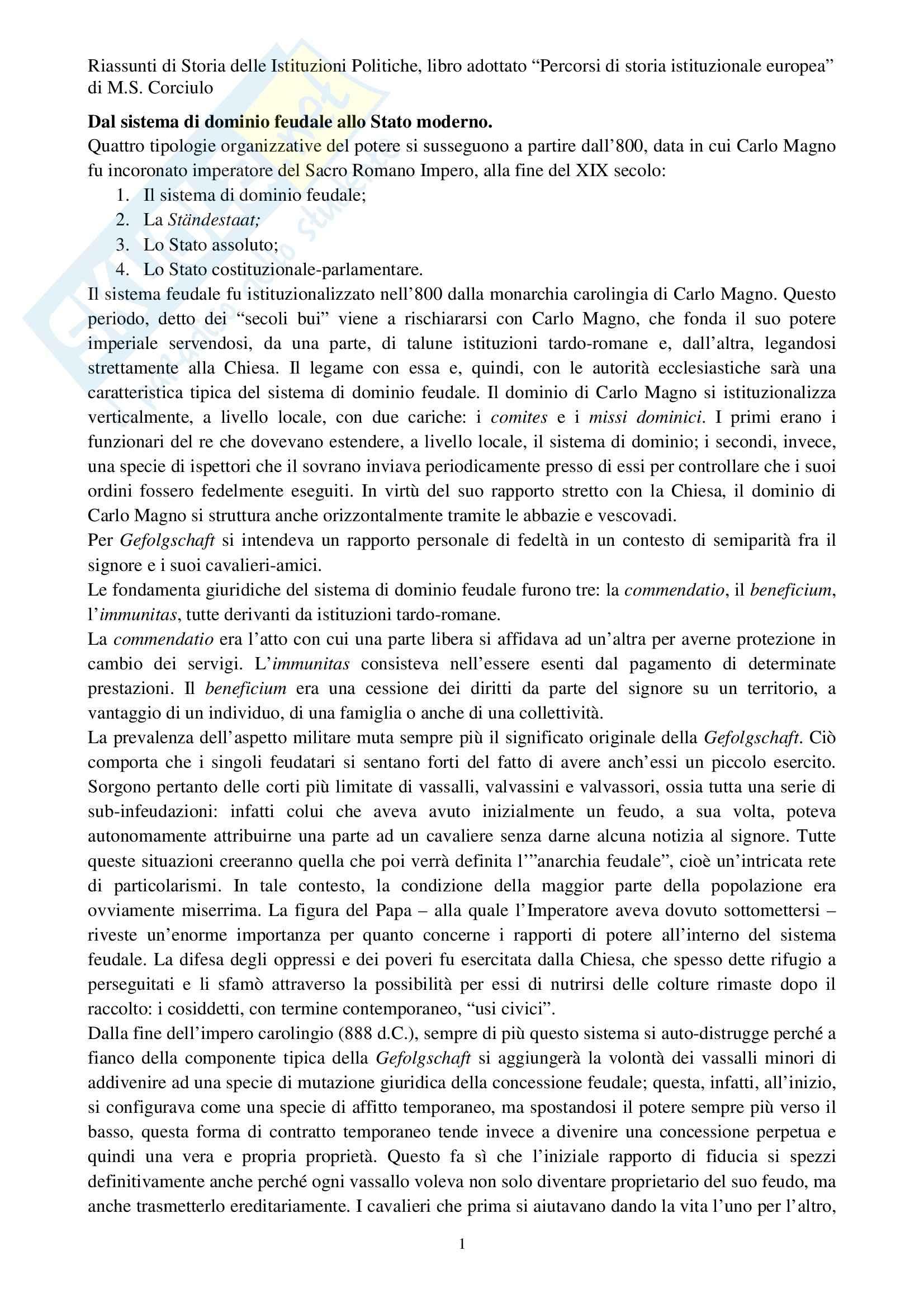 Riassunto esame Storia delle istituzioni politiche, prof. Corciulo, libro consigliato Percorsi di storia istituzionale europea, Corciulo