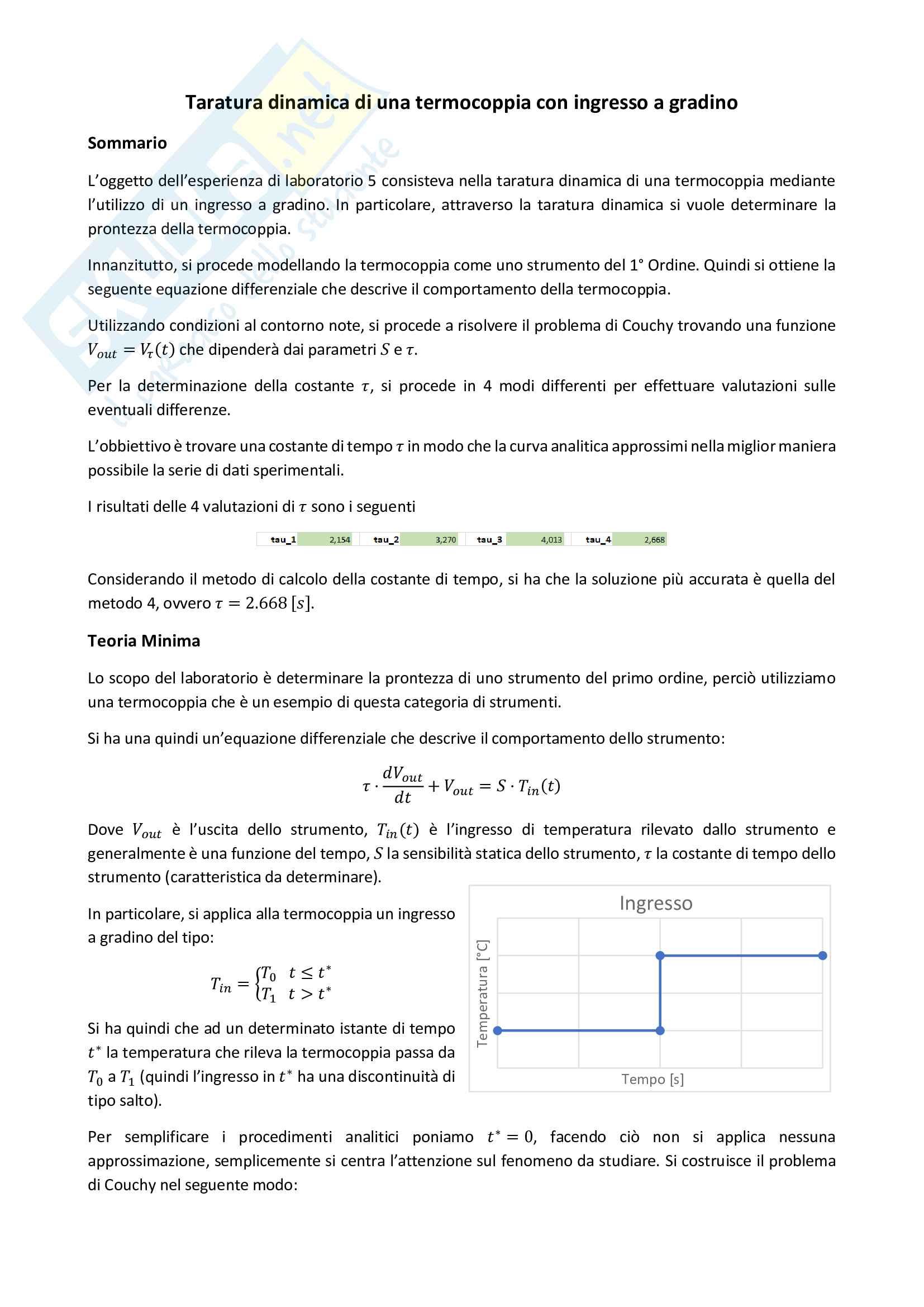 Relazione Laboratorio - Taratura Dinamica con Ingresso a Gradino - Strumento I Ordine