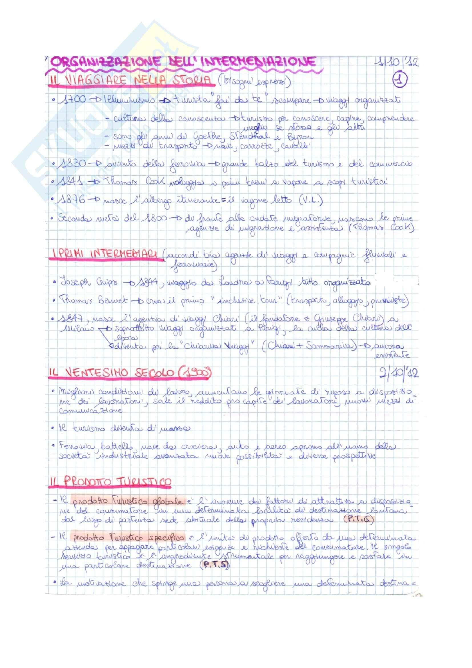 L'intermediazione turistica della filiera del turismo organizzato, Biella, Beccheri - Appunti