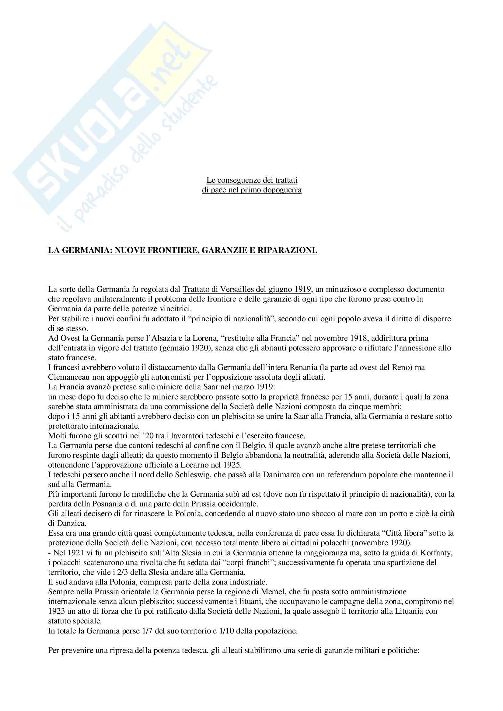 Riassunto esame Storia dei Trattati, prof. Rossi, libro consigliato Storia Diplomatica dal 1919 ai Nostri Giorni, Duroselle