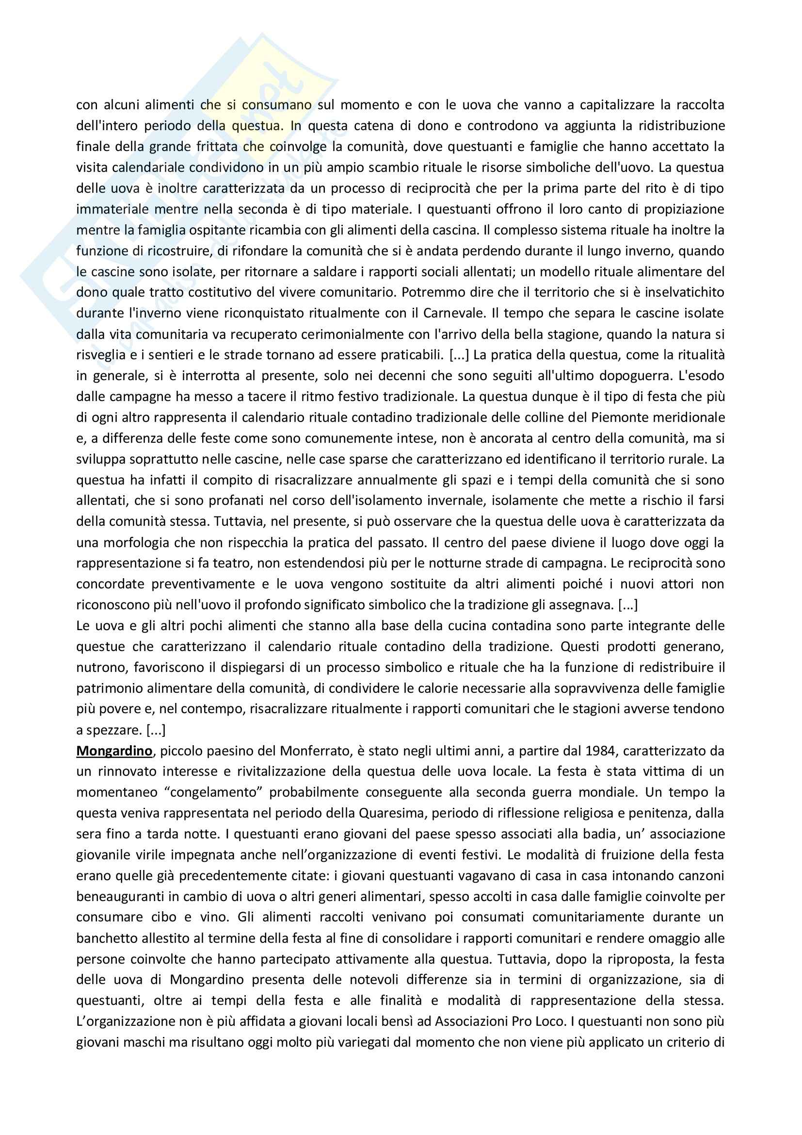 Riassunto esame Antropologia culturale, prof. Bonato, libro consigliato Cibo e rito. Il gesto e la parola nell'alimentazione tradizionale, Grimaldi Pag. 6