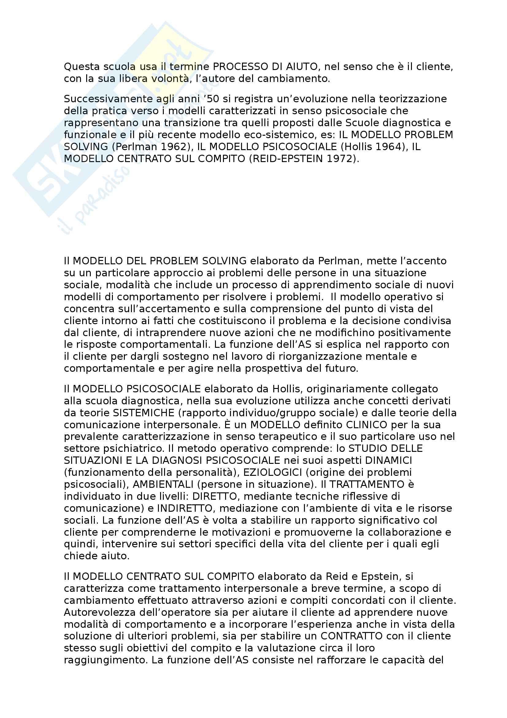 Riassunto esame Metodi e Tecniche del Servizio Sociale, prof. Palmieri, libro consigliato Metodi e Tecniche del Processo di Aiuto, Lerma Pag. 11