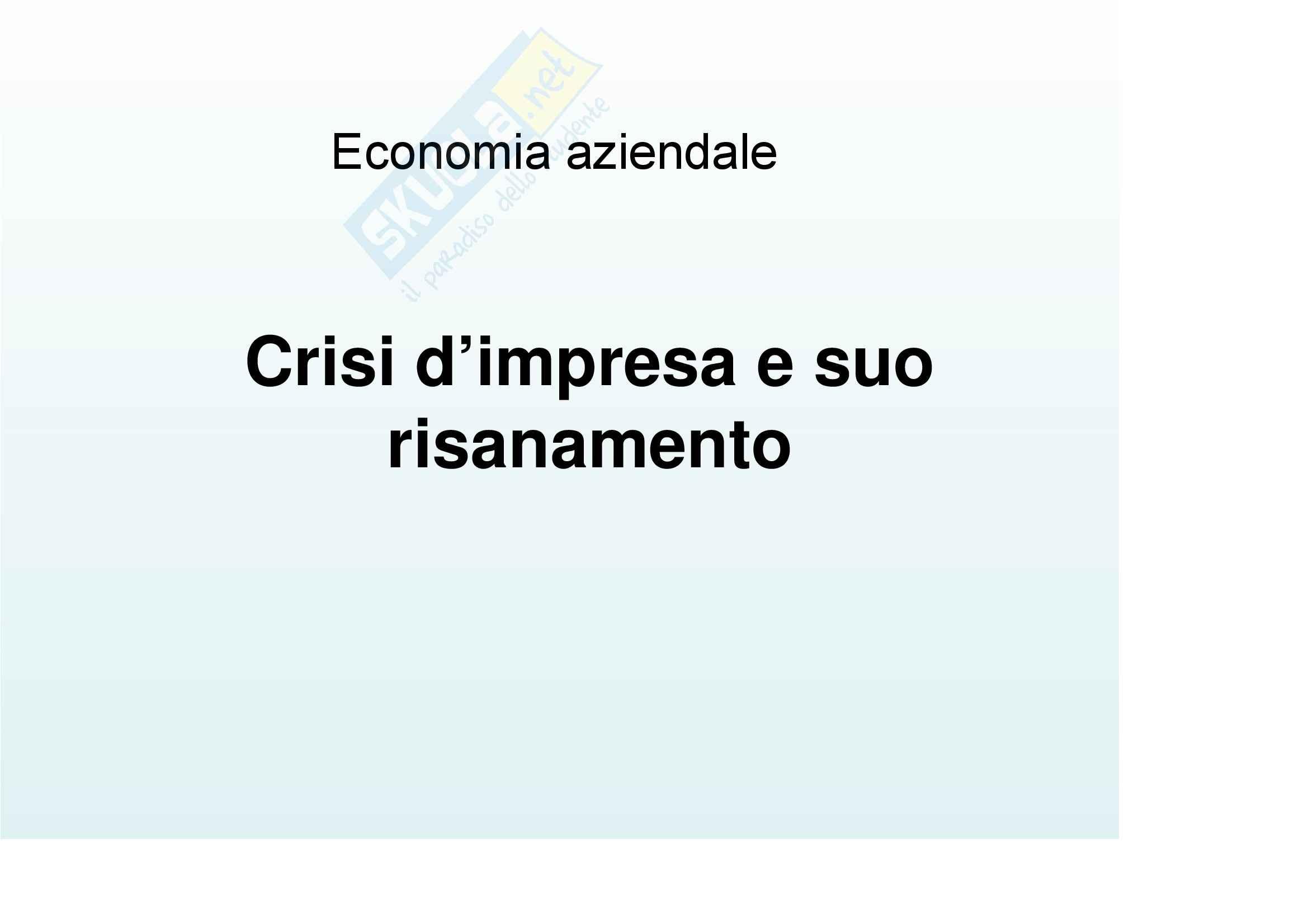 Economia aziendale - Crisi d'impresa e suo risanamento