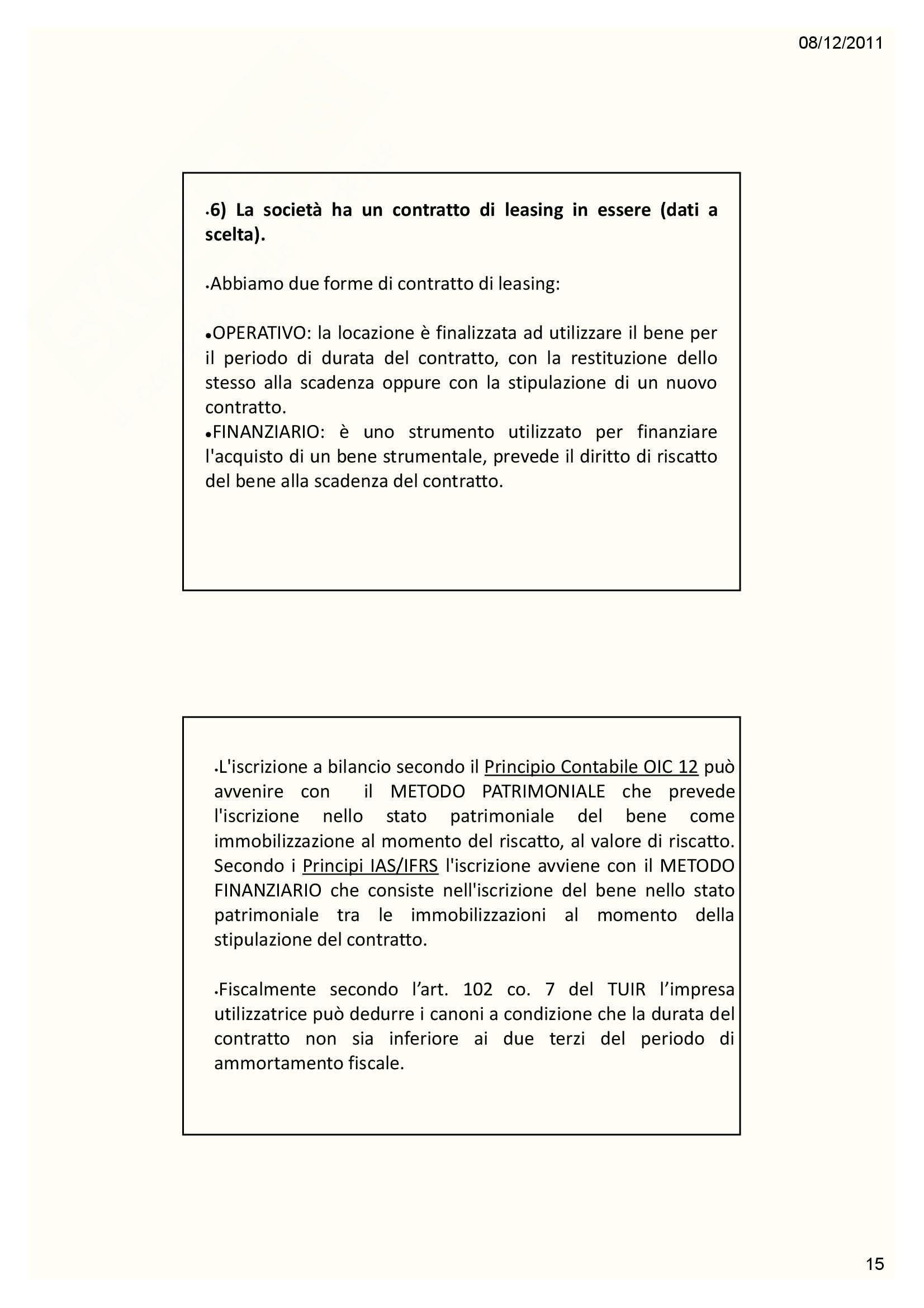 Esercitazioni. Bilancio d'esercizio Pag. 16