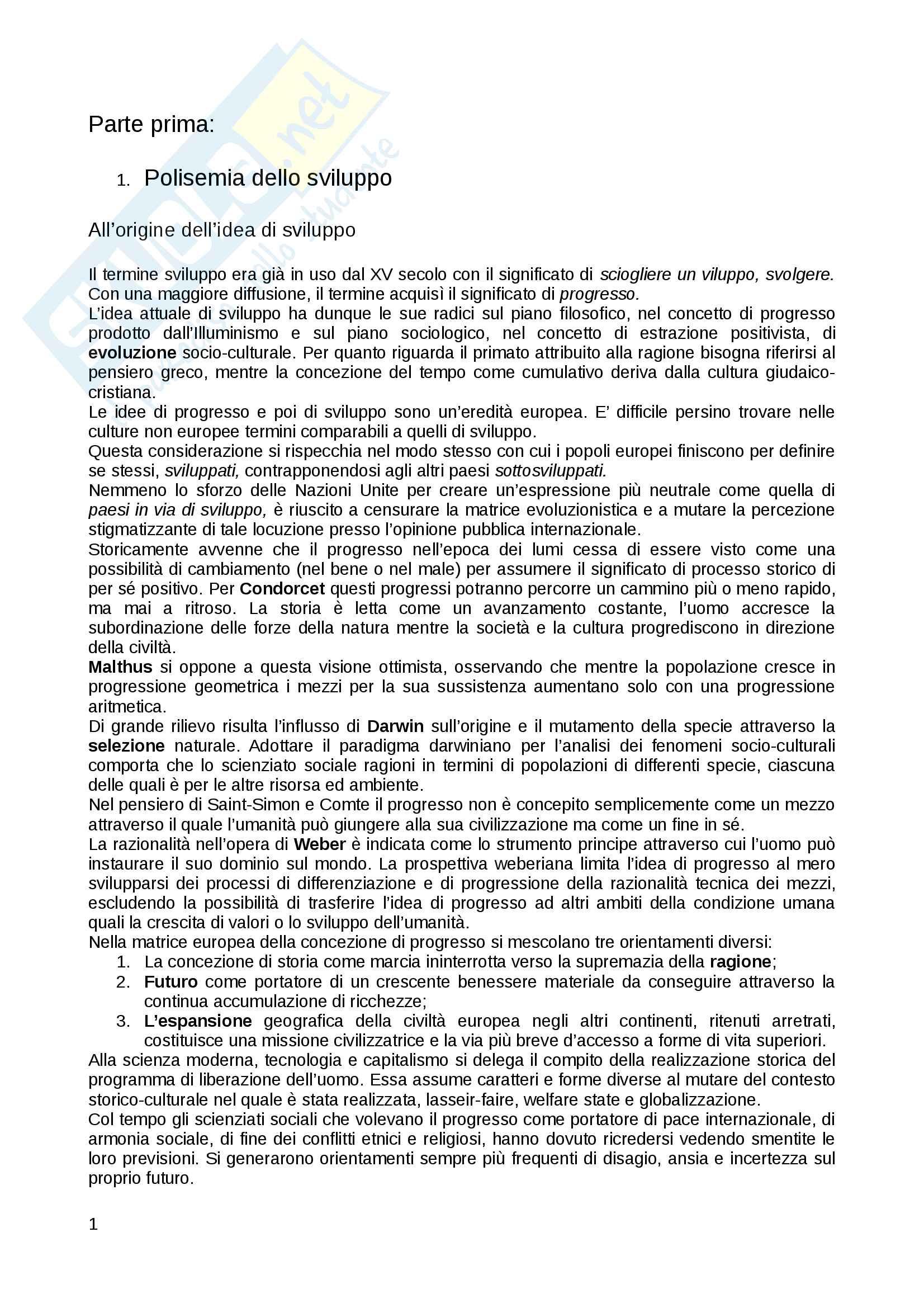 Riassunto esame sociologia dello sviluppo, prof Rovati, libro consigliato Avventure e disavventure della sociologia dello Sviluppo, Scidà Pag. 1