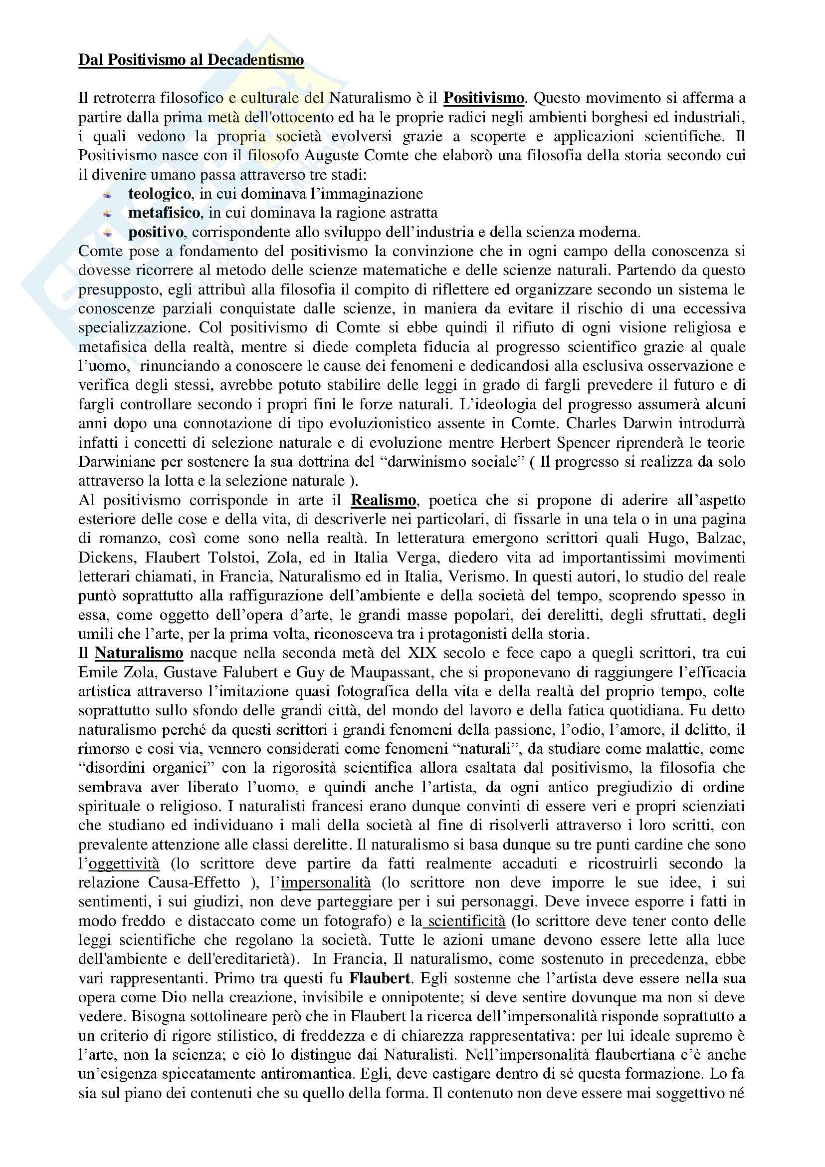Letteratura italiana - dal positivismo al decadentismo
