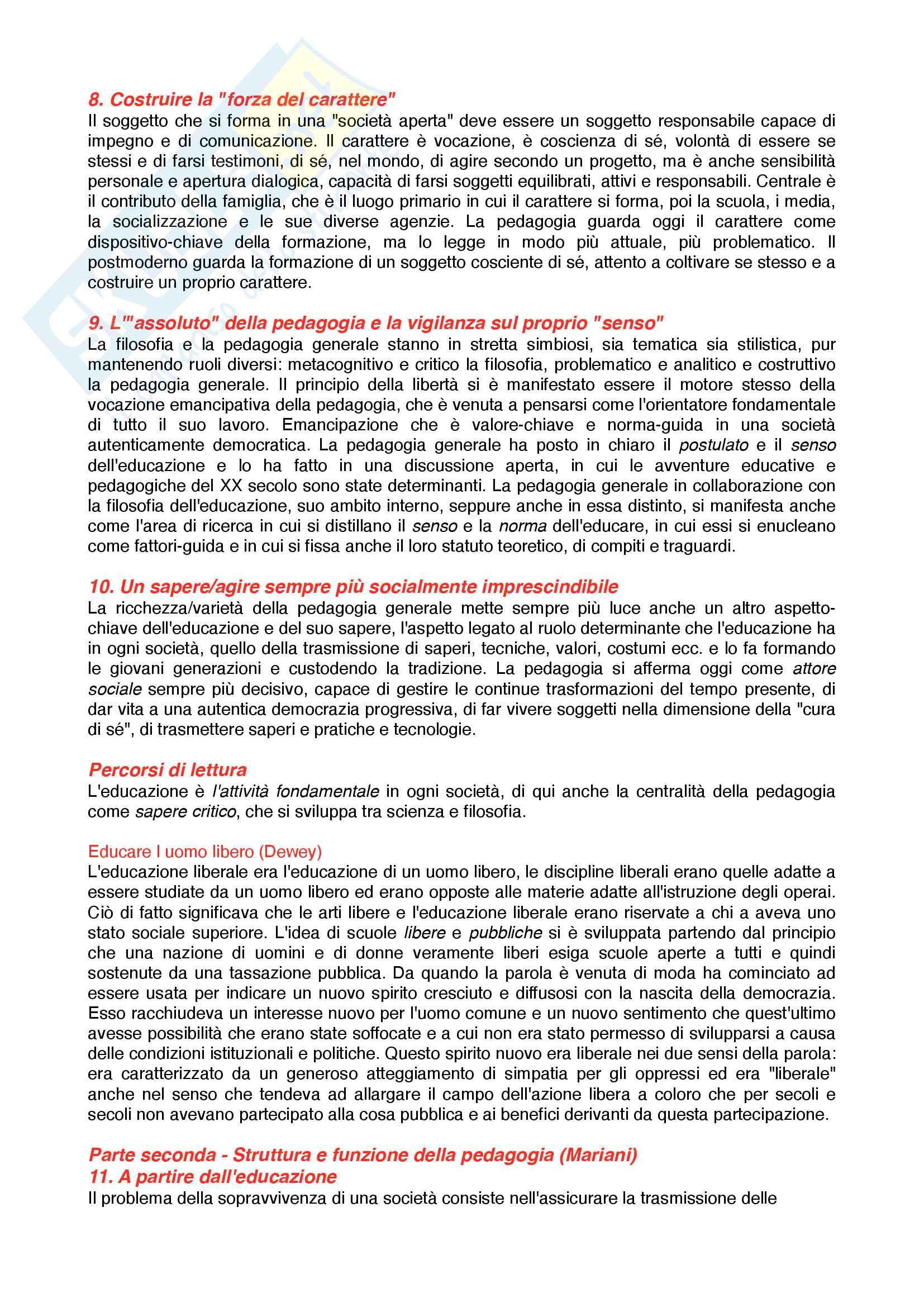 Riassunto esame Pedagogia generale, prof. Madrussan, libro consigliato Pedagogia Generale, identità, percorsi, funzione Pag. 6