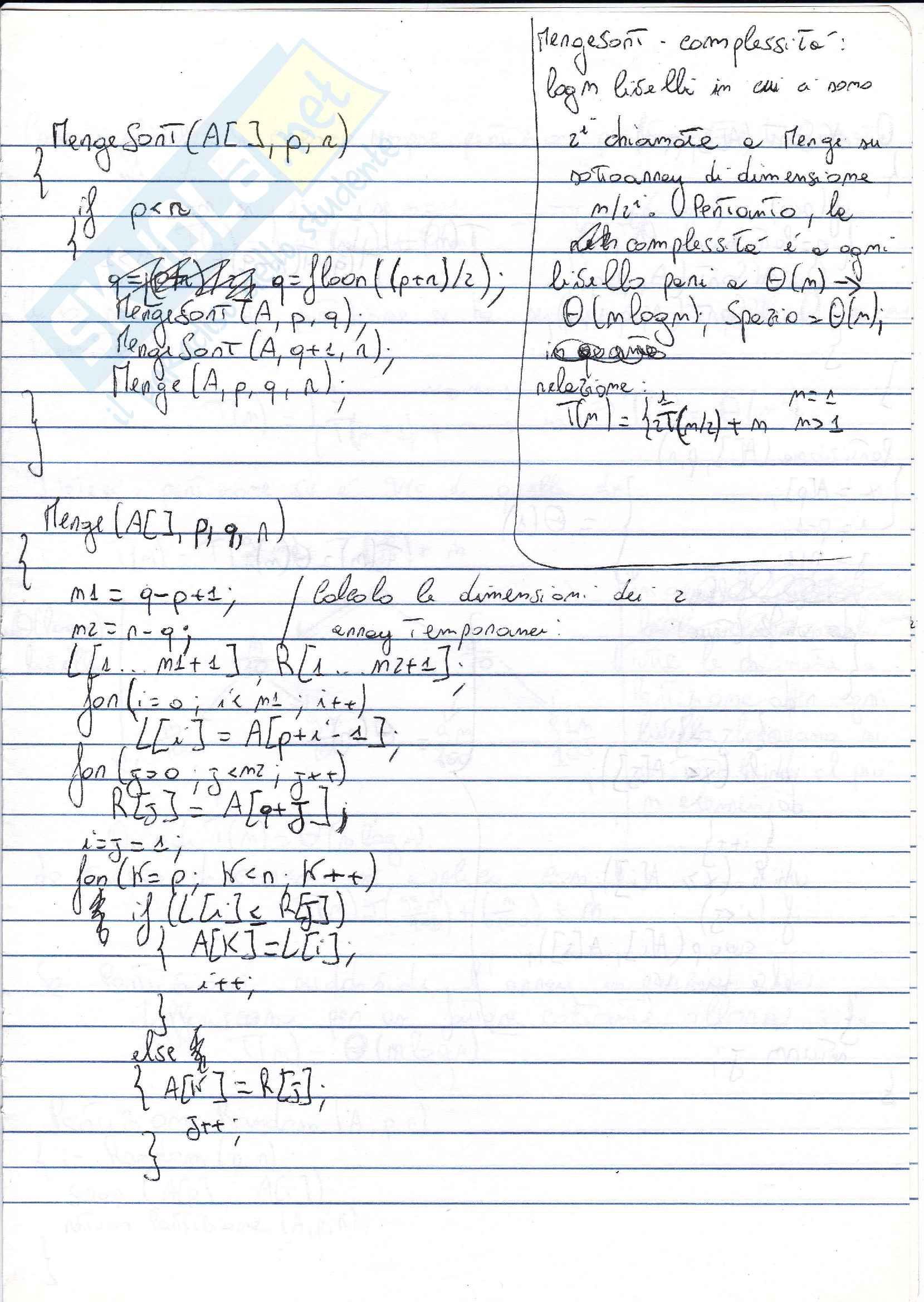 Appunti di teoria Algoritmi e Strutture Dati Pag. 1